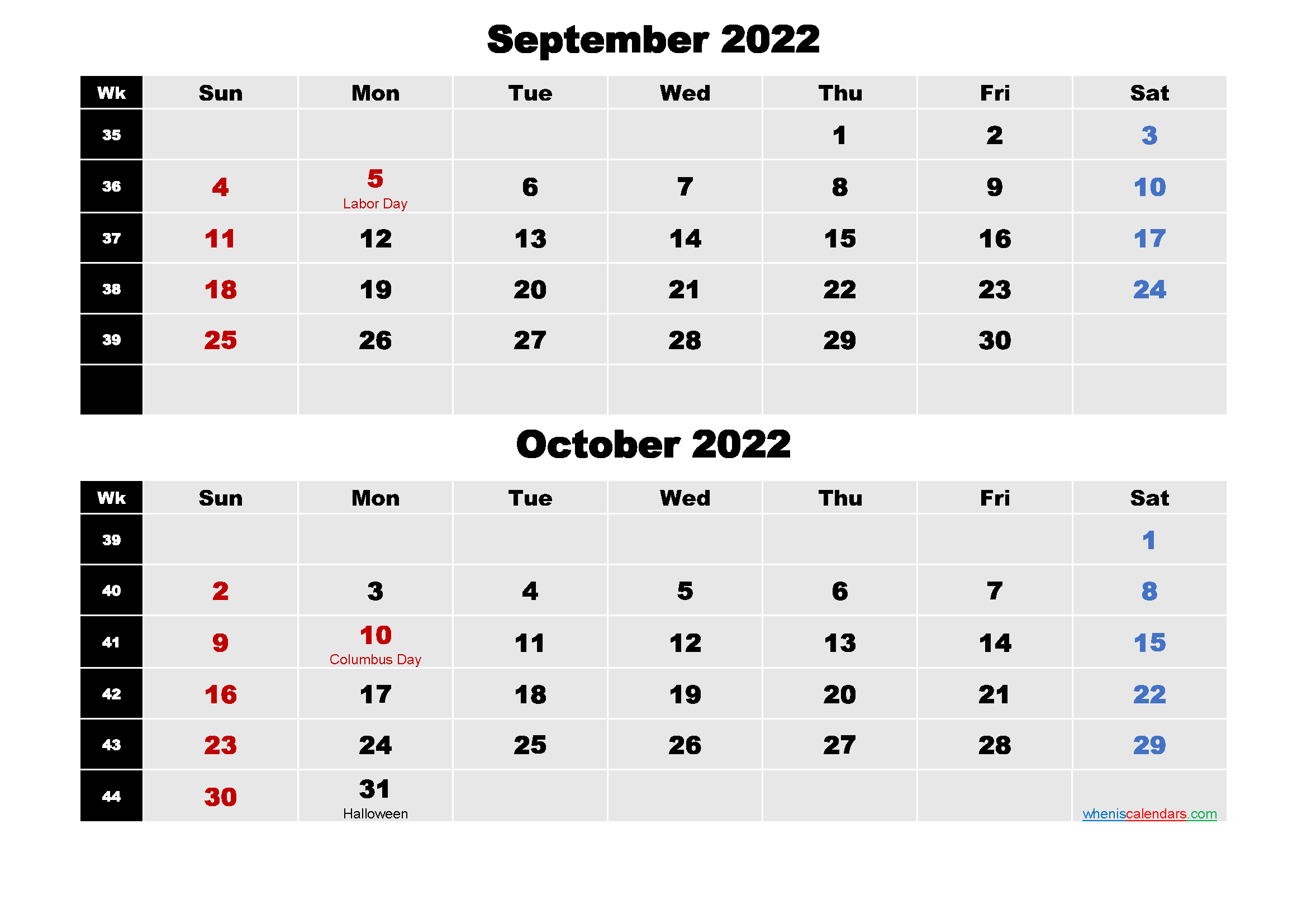 September and October 2022 Calendar with Holidays