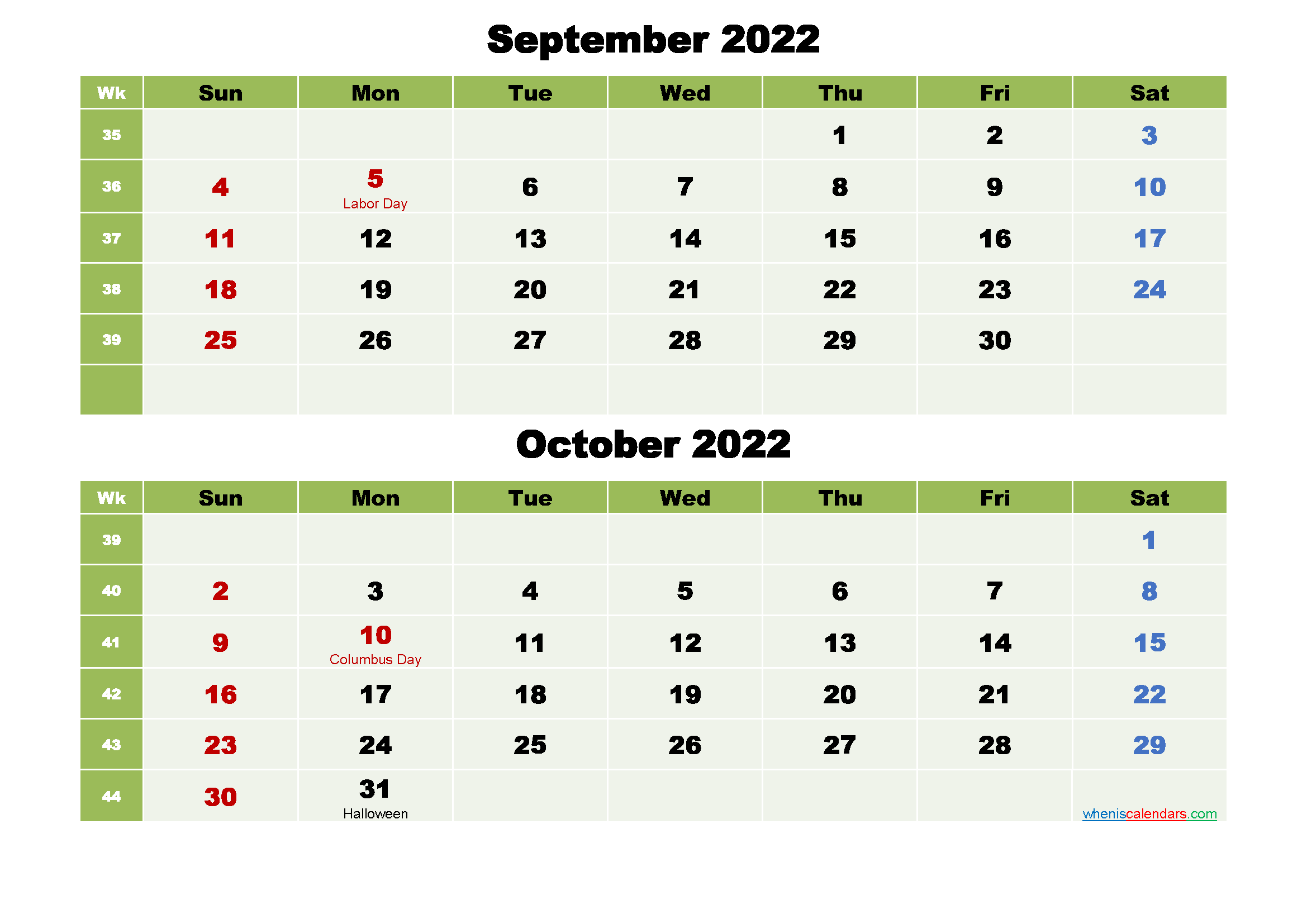 Printable Calendar September and October 2022 Word, PDF