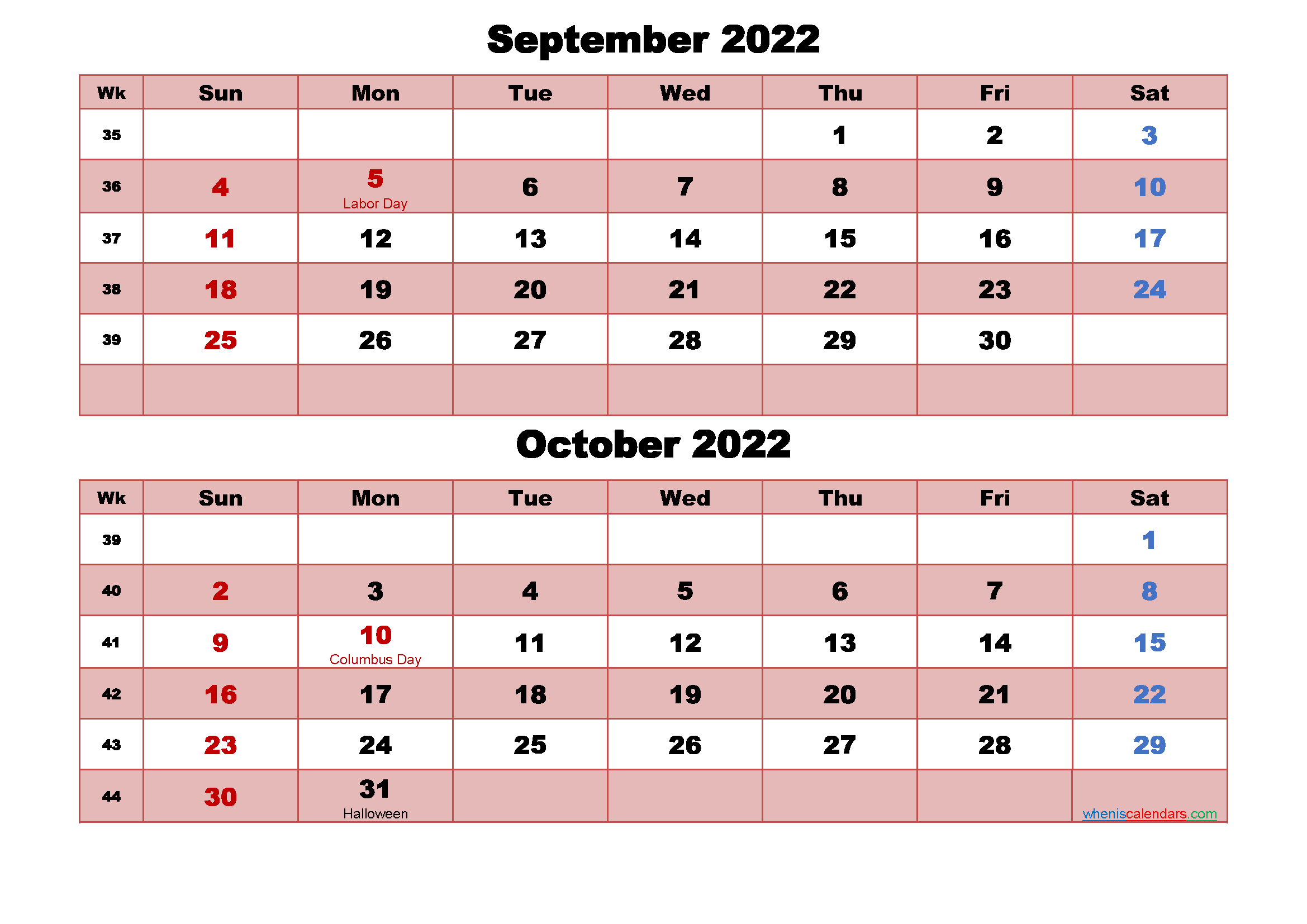 September and October Calendar 2022 Printable Word, PDF