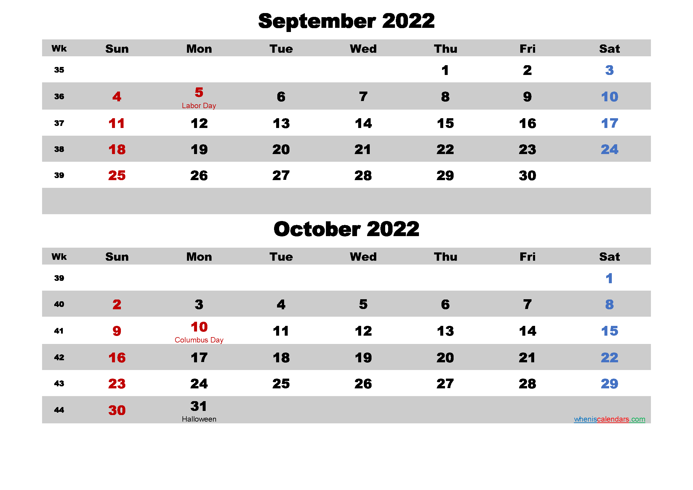 Calendar for September and October 2022 Word, PDF