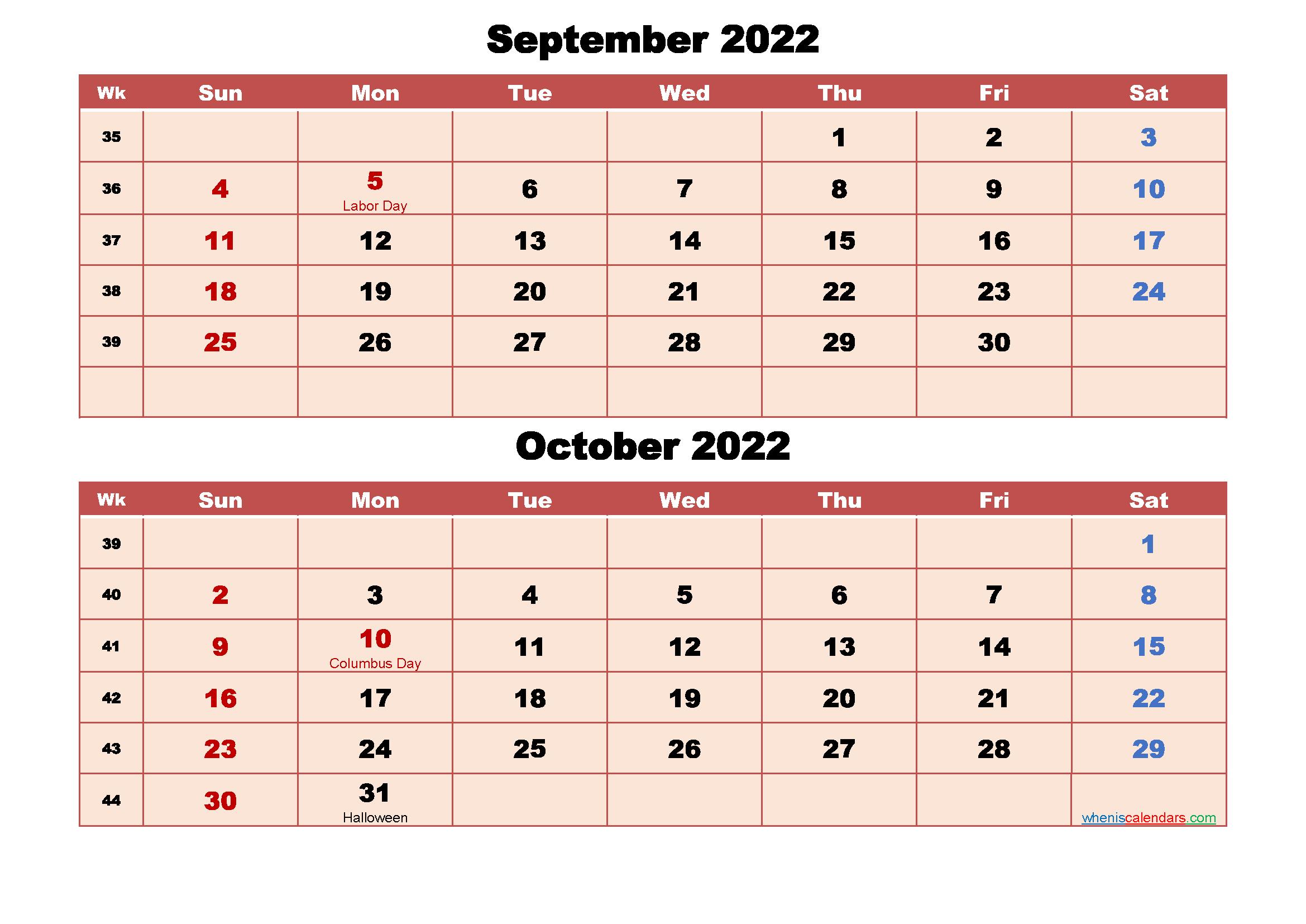 Calendar for September and October 2022 Word, PDF