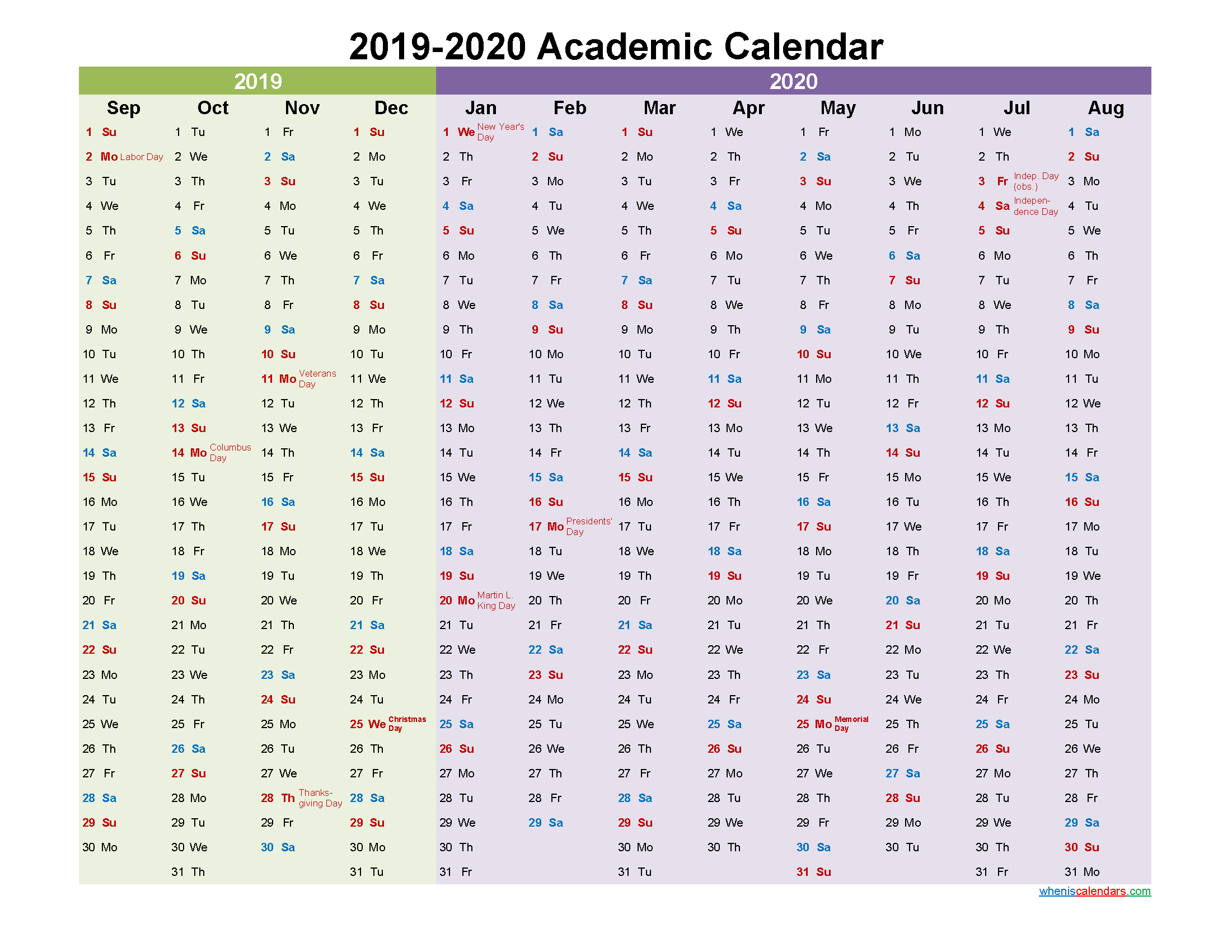 Academic Calendar 2019 and 2020 Printable