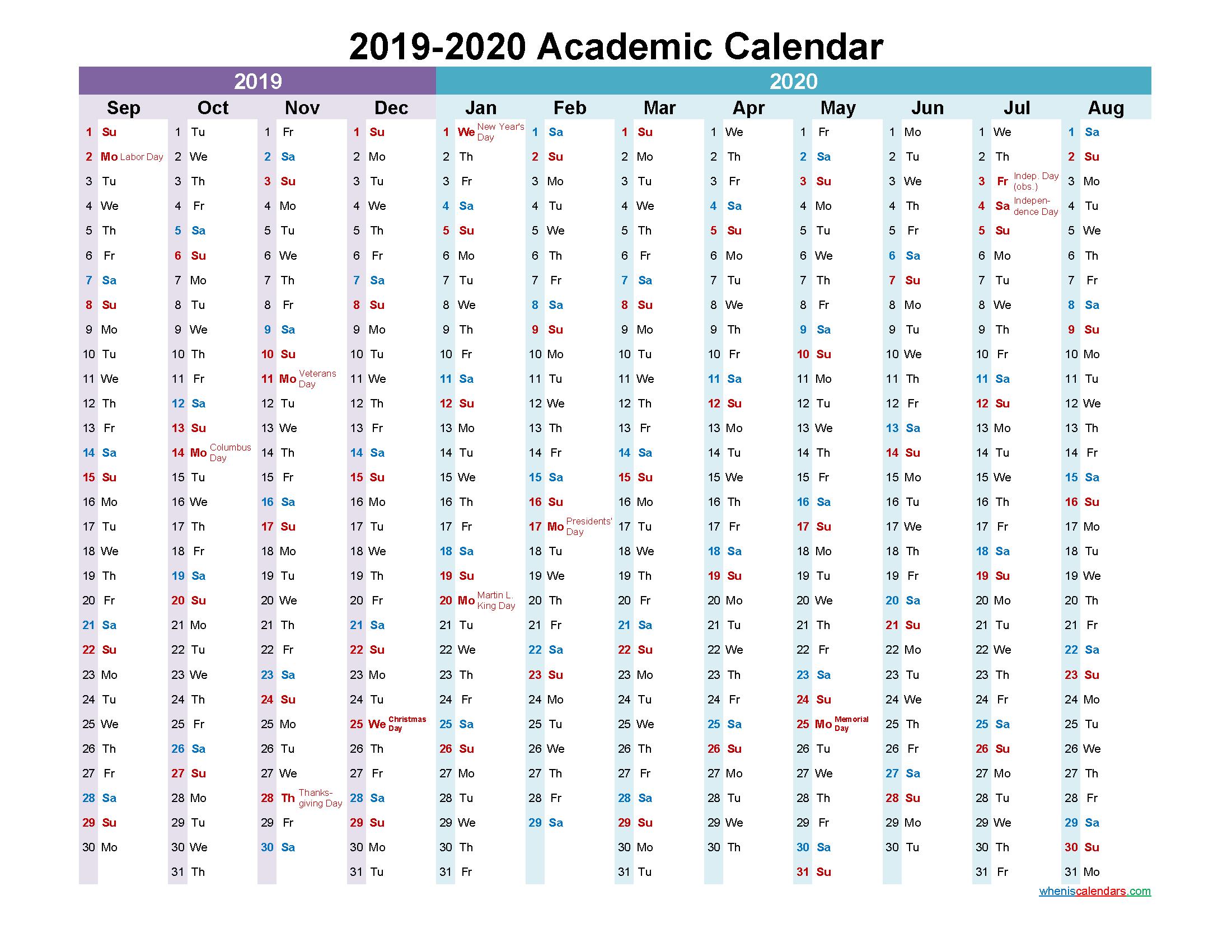 2019 and 2020 Academic Calendar Printable