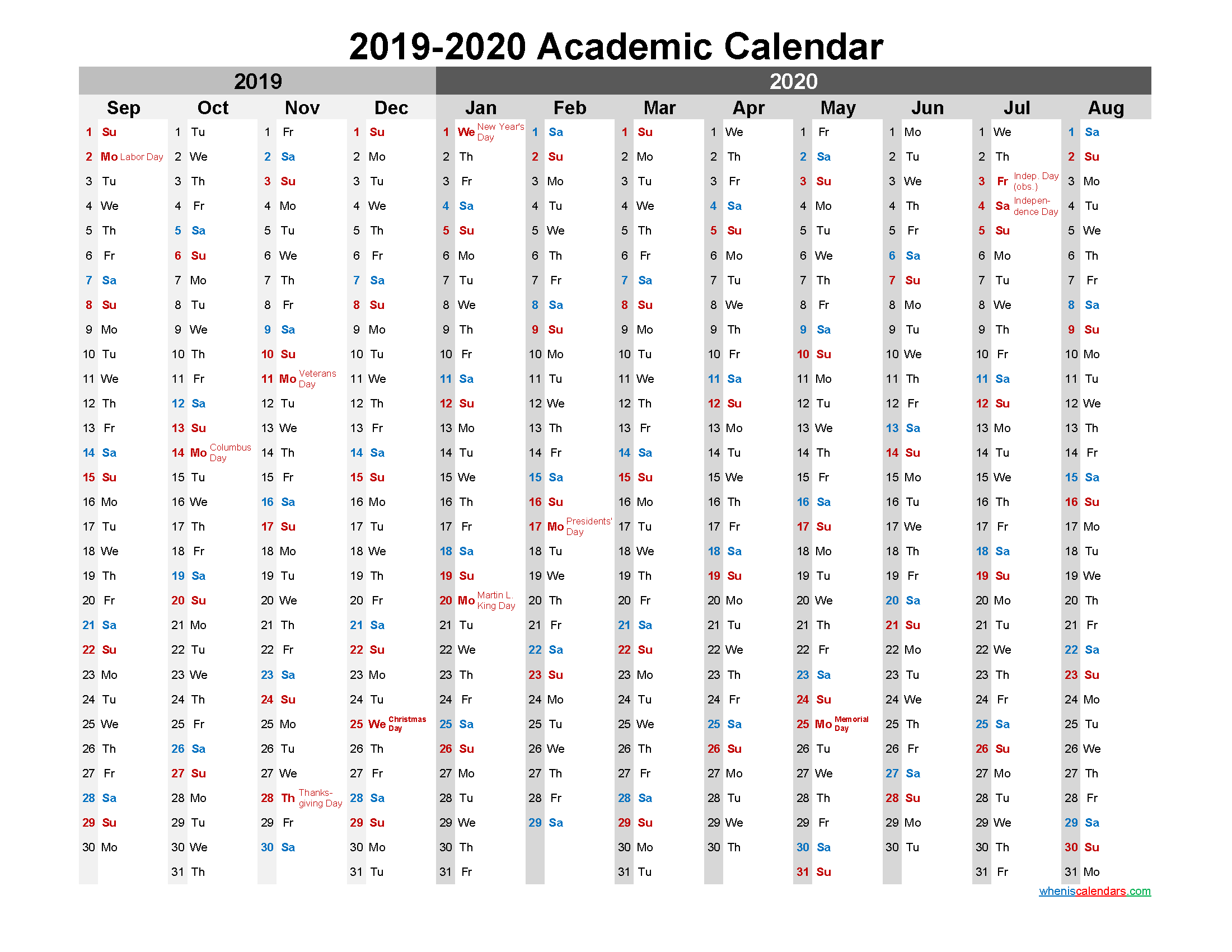 Academic Calendar 2019 and 2020 Printable