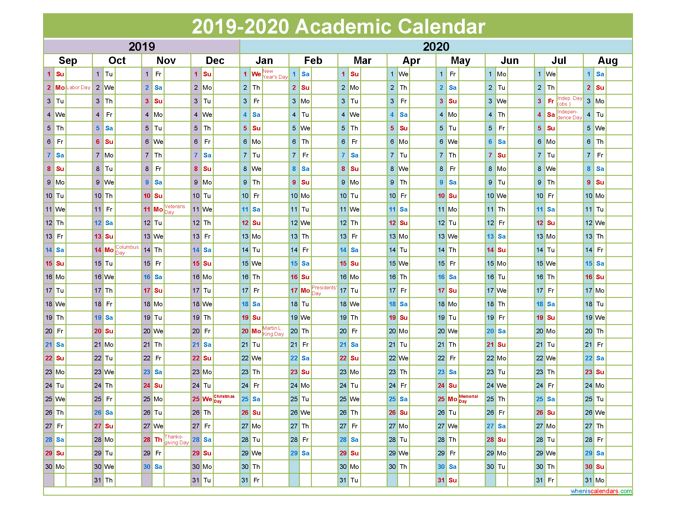 2019 and 2020 Academic Calendar Printable