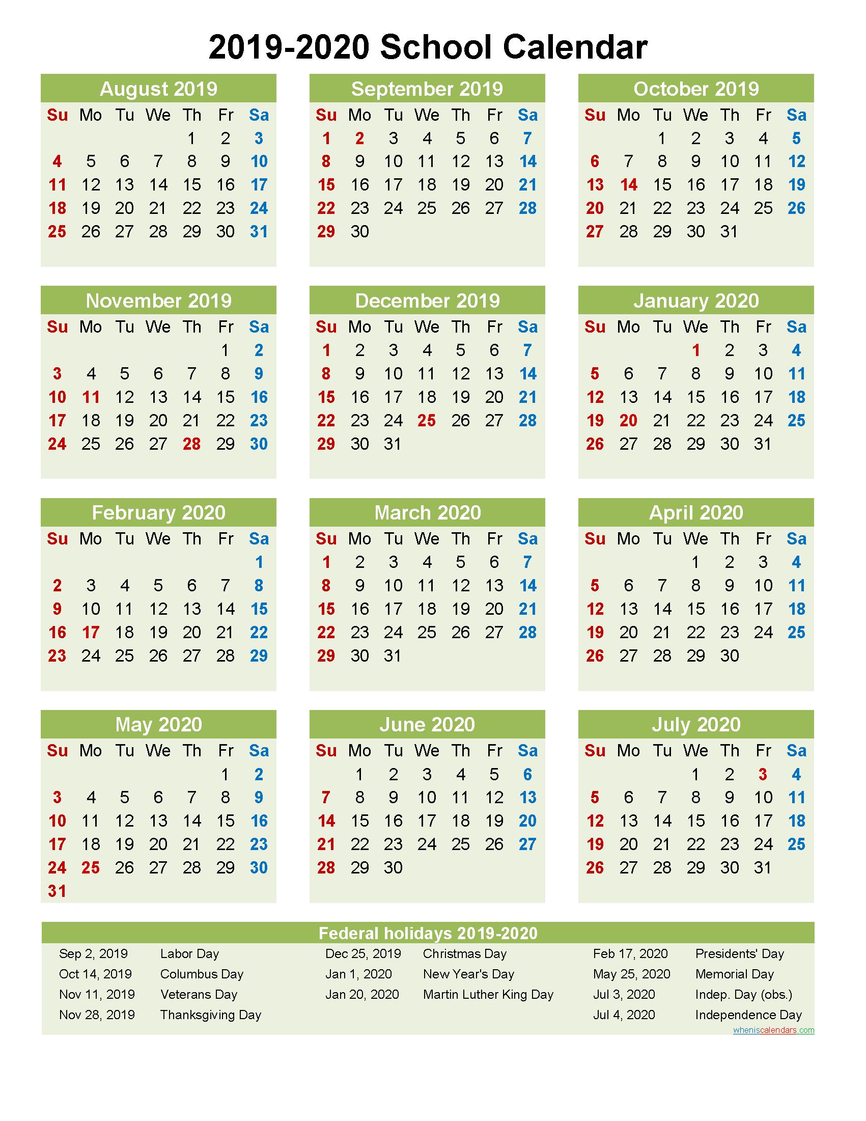 2019 and 2020 School Calendar Printable