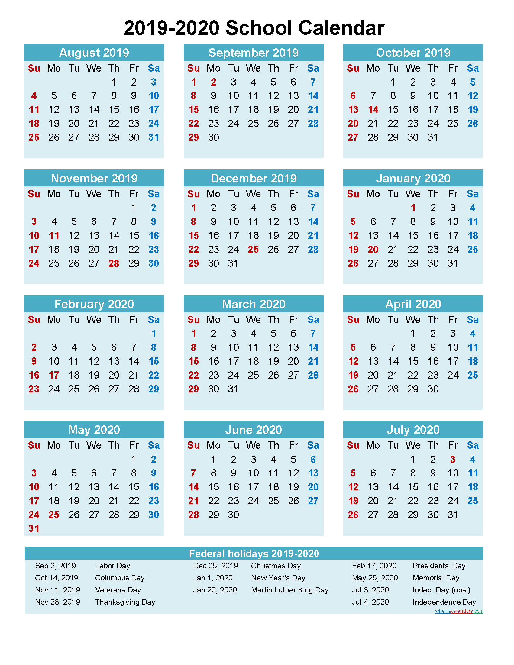 2019 and 2020 School Calendar Printable