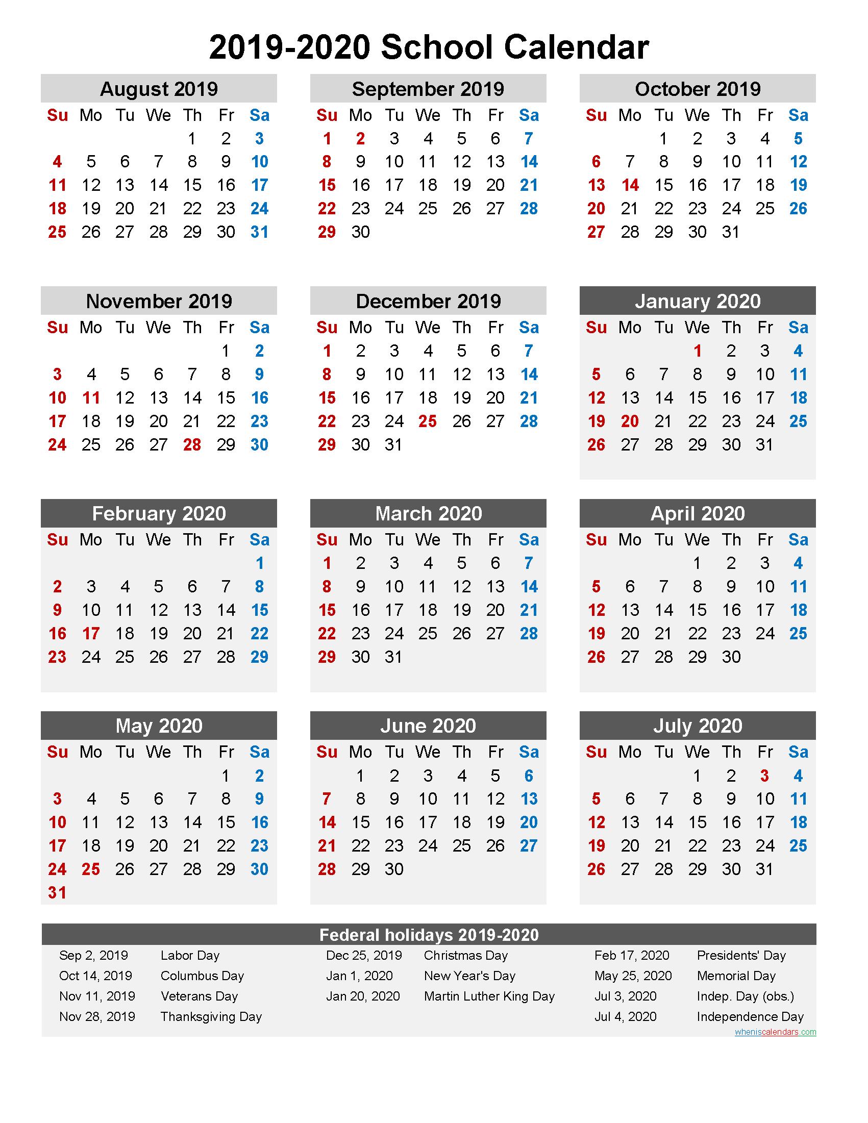 School Calendar 2019 and 2020 Printable