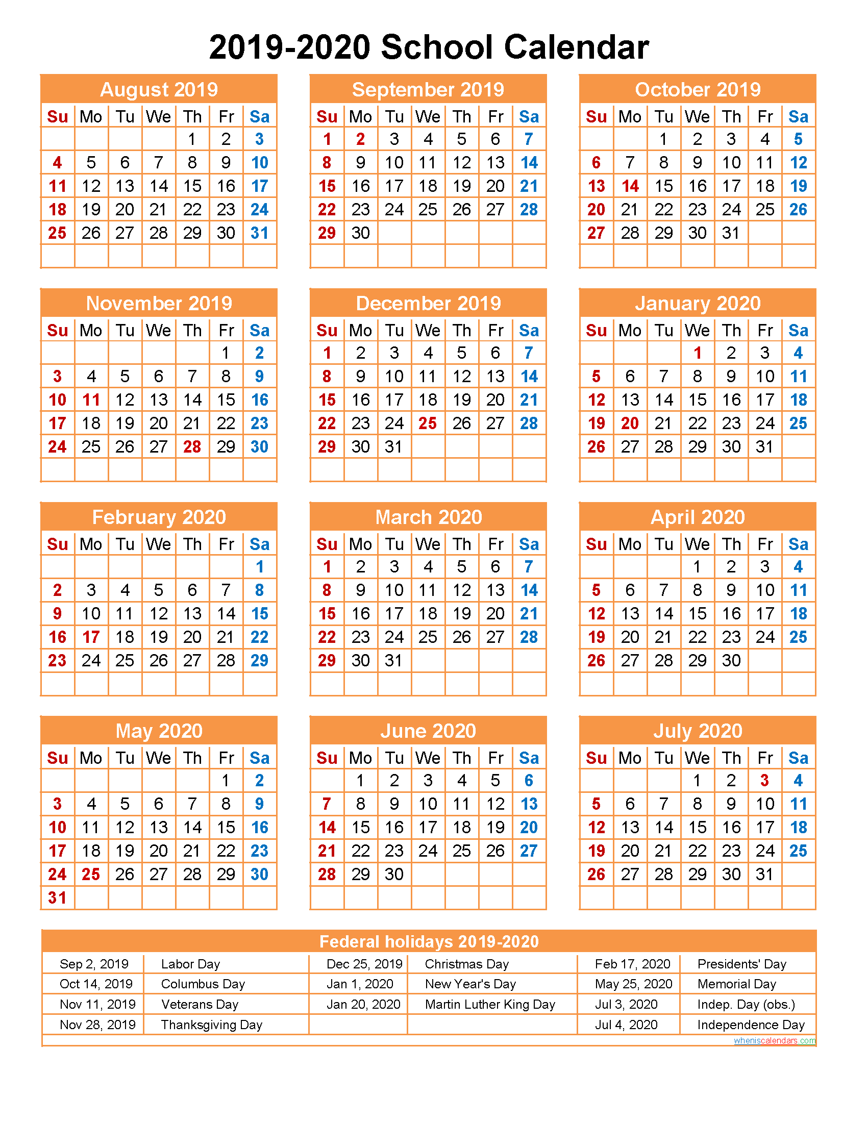 School Calendar 2019 and 2020 Printable