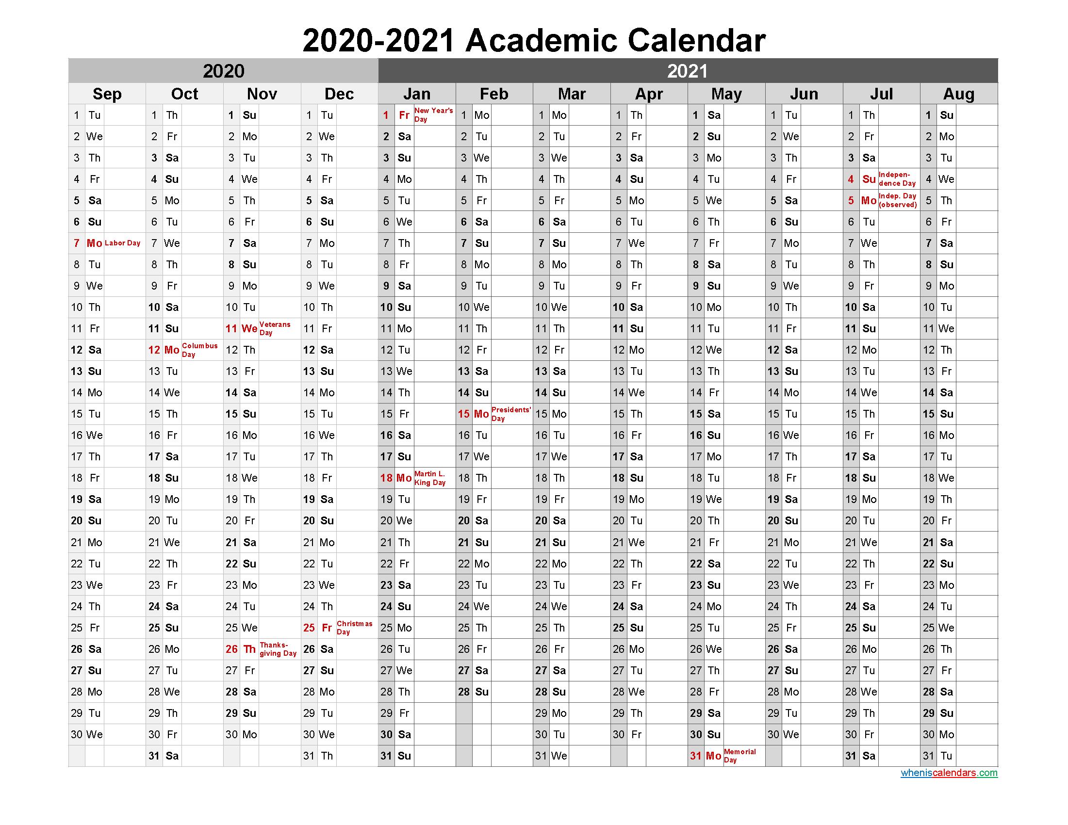 2020 and 2021 Academic Calendar Printable