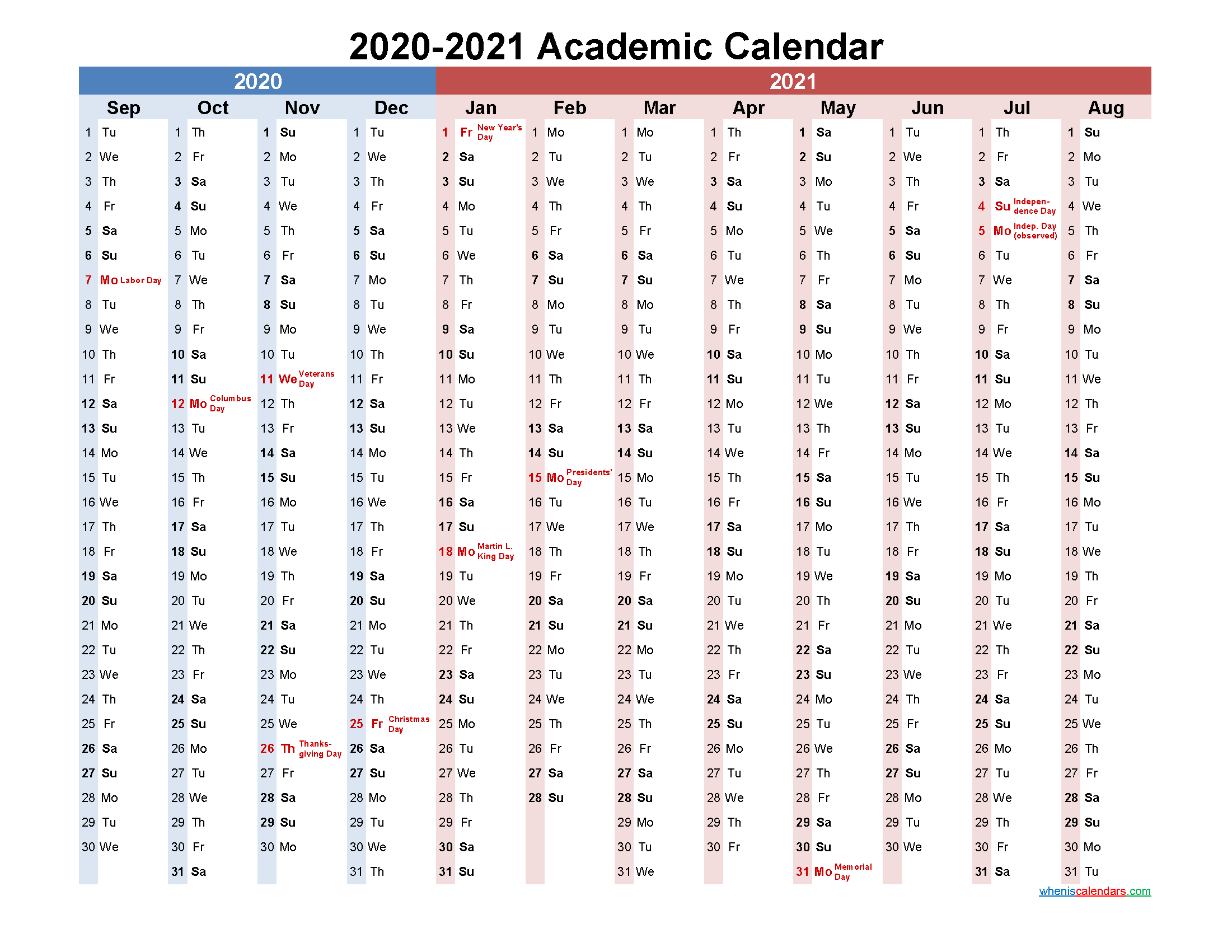 Academic Calendar 2020 and 2021 Printable