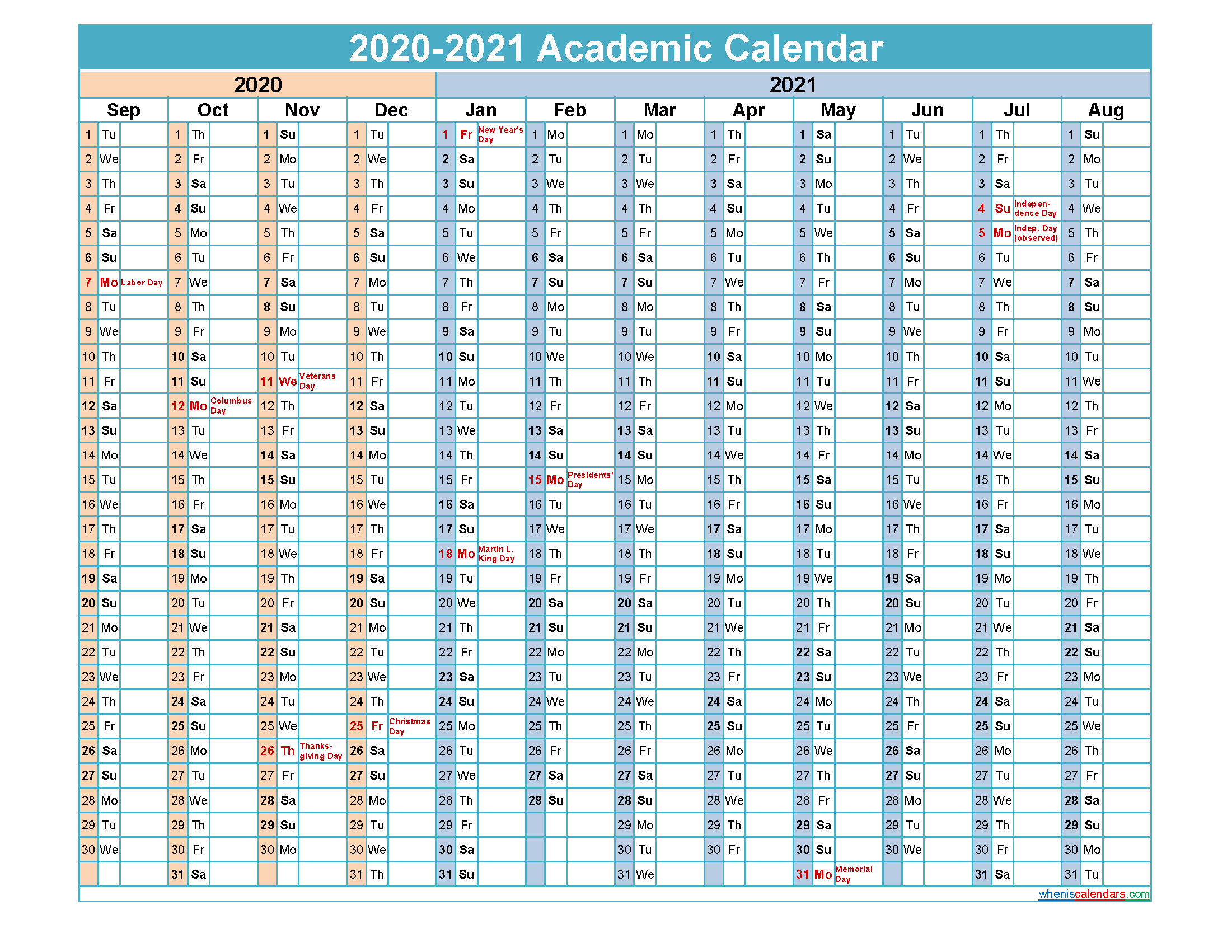 2020 and 2021 Academic Calendar Printable