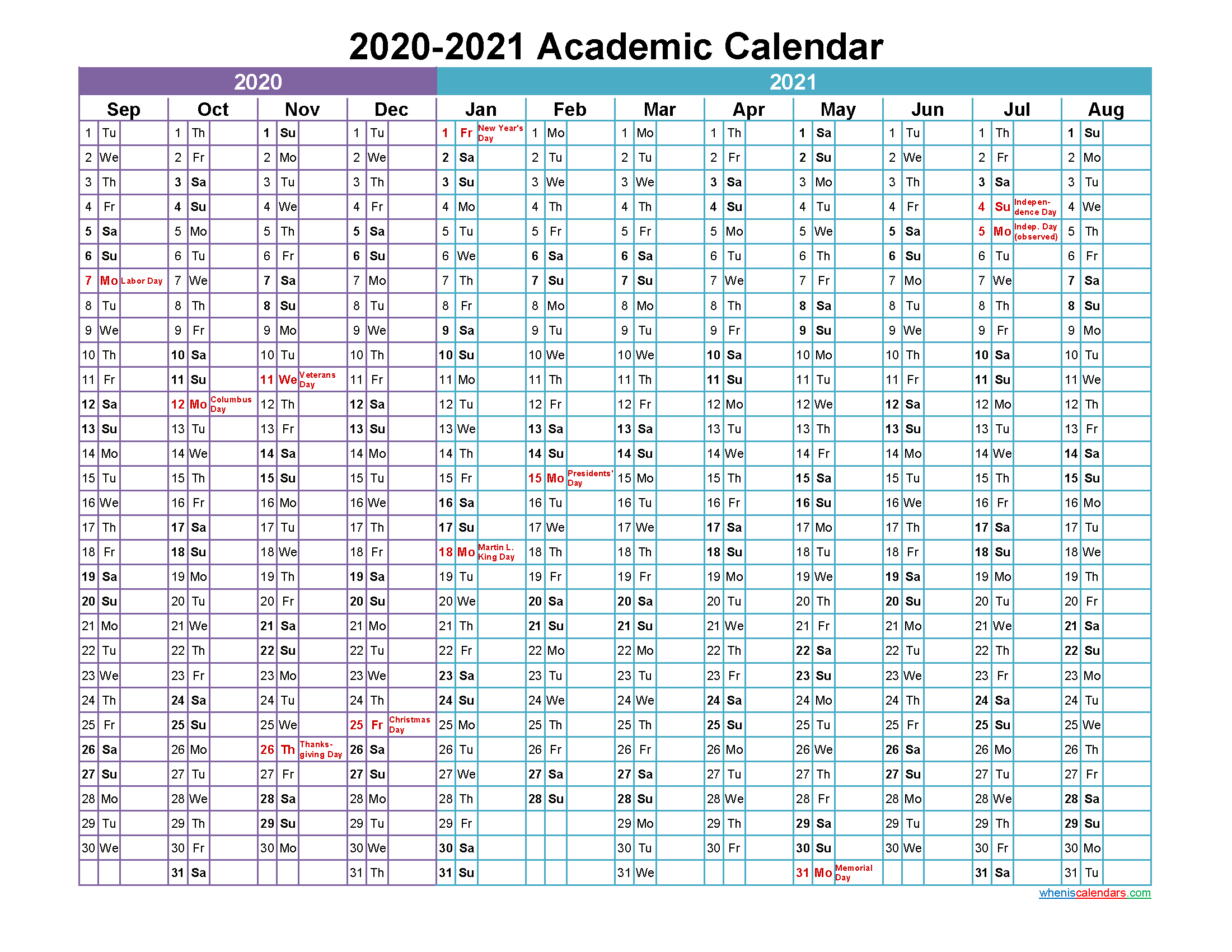 Academic Calendar 2020 and 2021 Printable