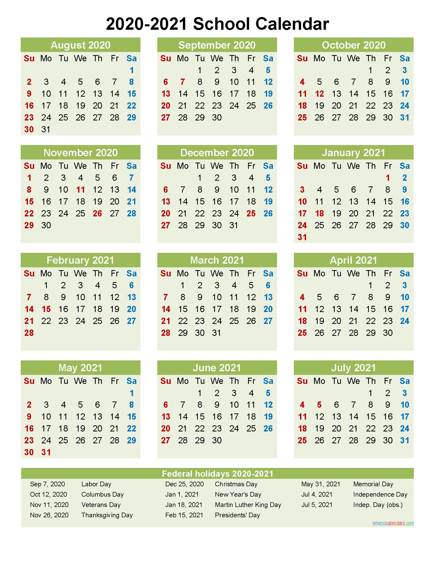 2020 and 2021 School Calendar Printable