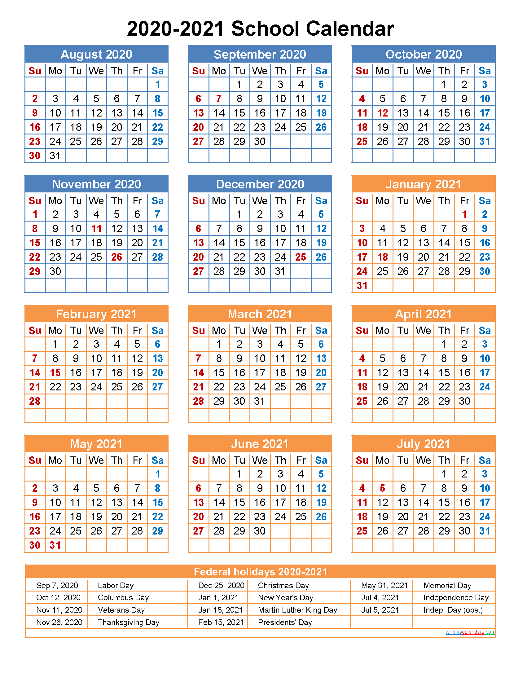 2020 And 2021 Calendar Printable 2020 and 2021 School Calendar Printable (Portrait)  Template No
