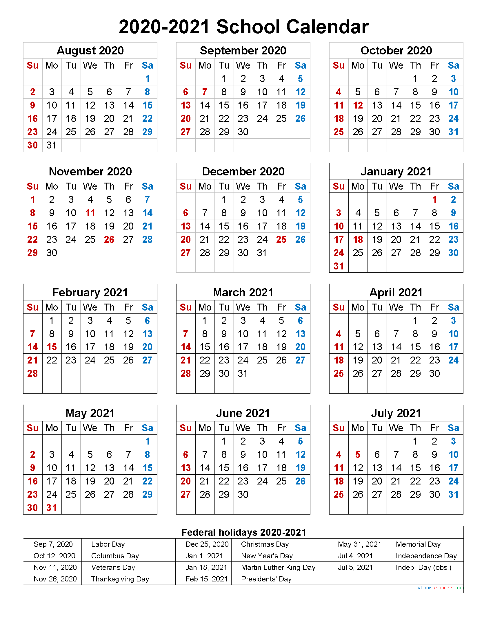 School Calendar 2020 and 2021 Printable (Portrait ...
