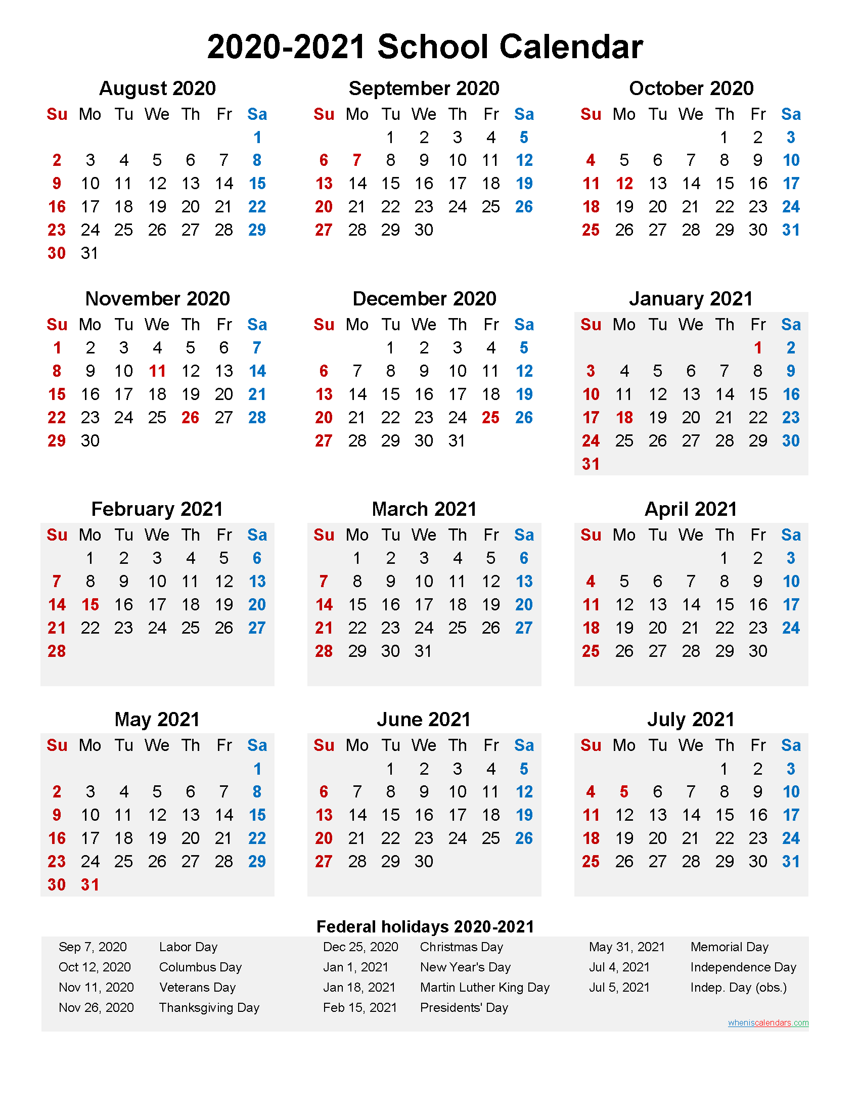 2020 and 2021 School Calendar Printable (Portrait ...