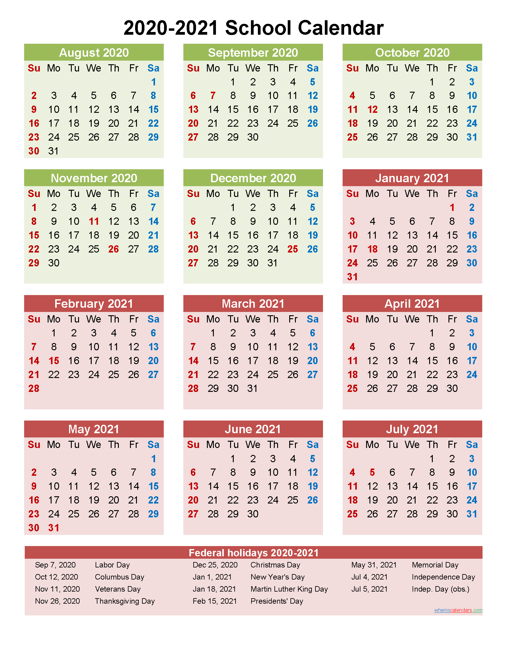 School Calendar 2020 and 2021 Printable