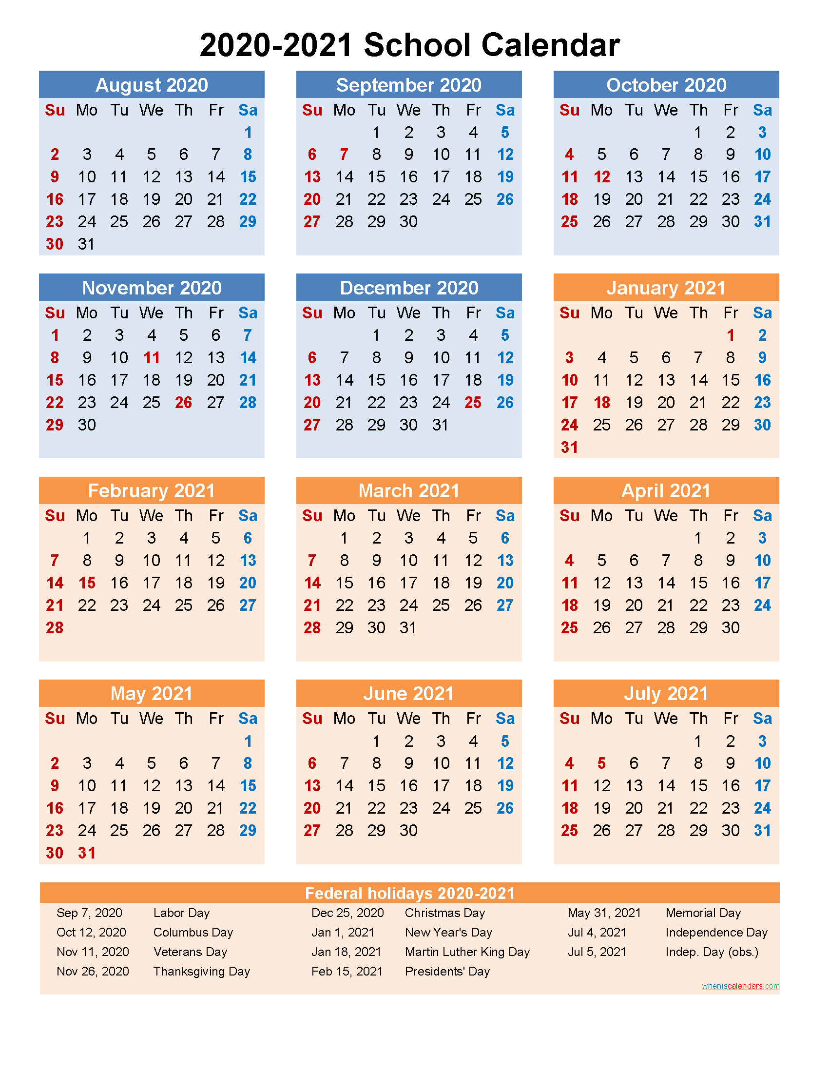 School Calendar 2020 and 2021 Printable (Portrait ...