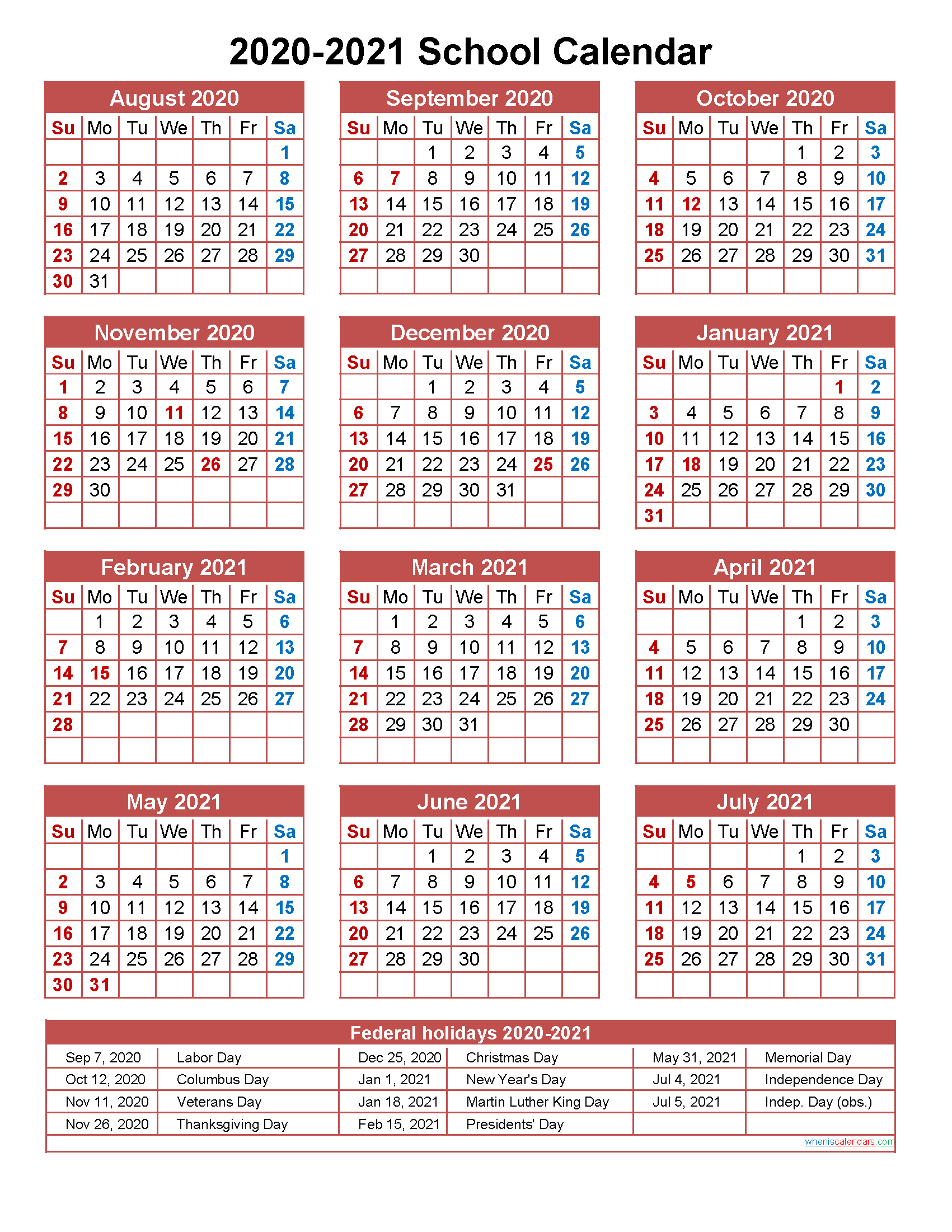 School Calendar 2020 and 2021 Printable