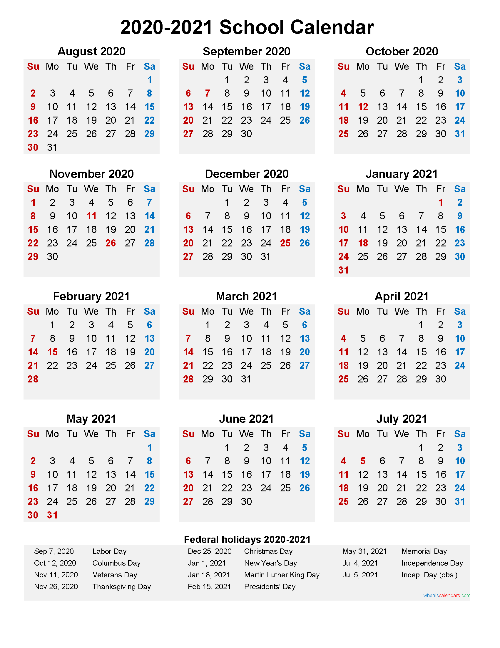 2020 and 2021 School Calendar Printable