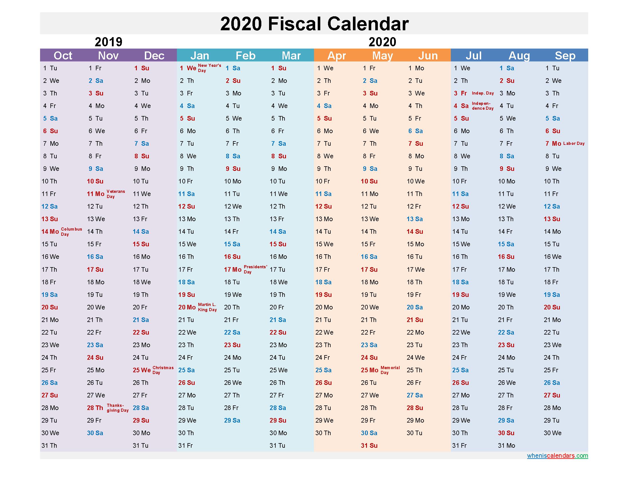 Fiscal Year Calendar 2020