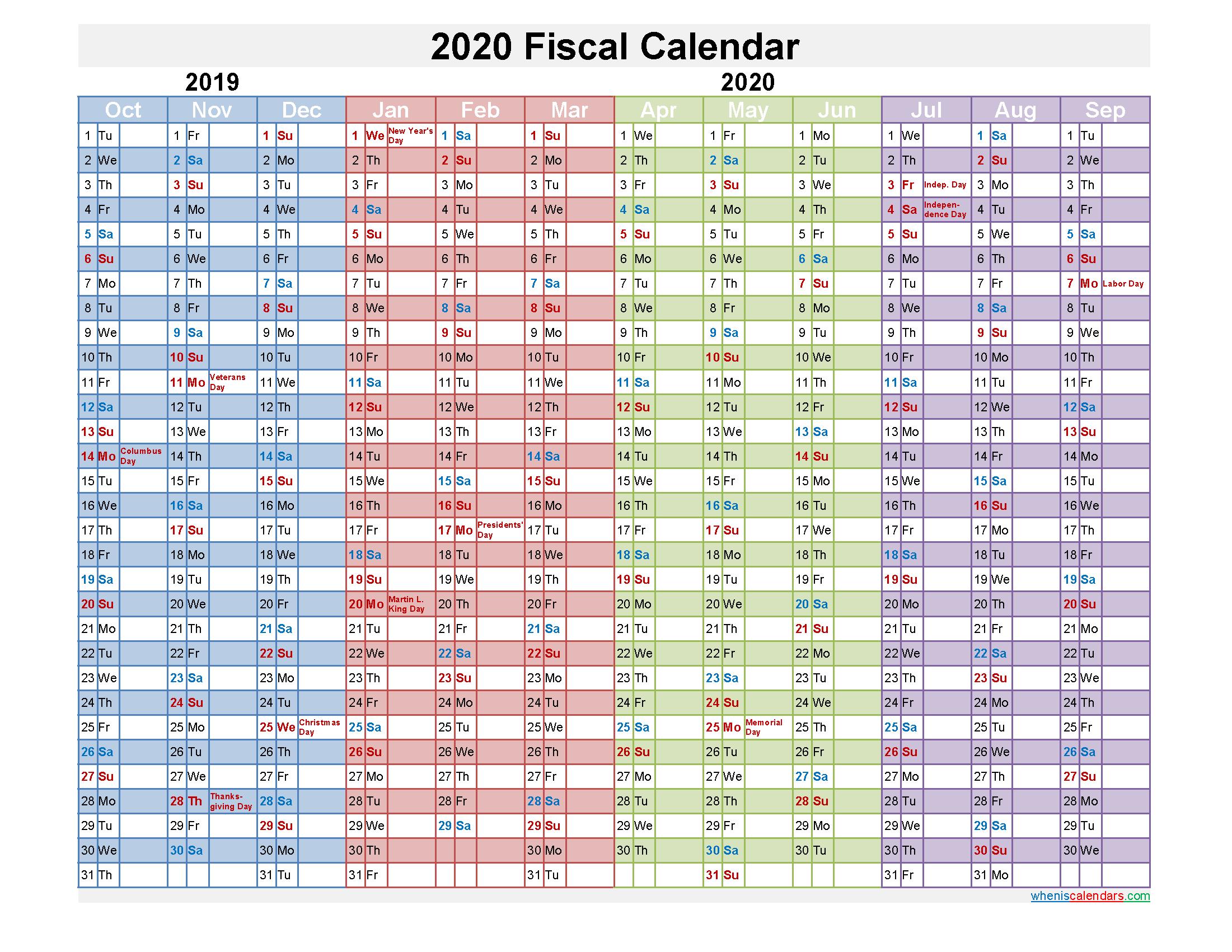 Fiscal Calendar 2020 Federal Fiscal Year