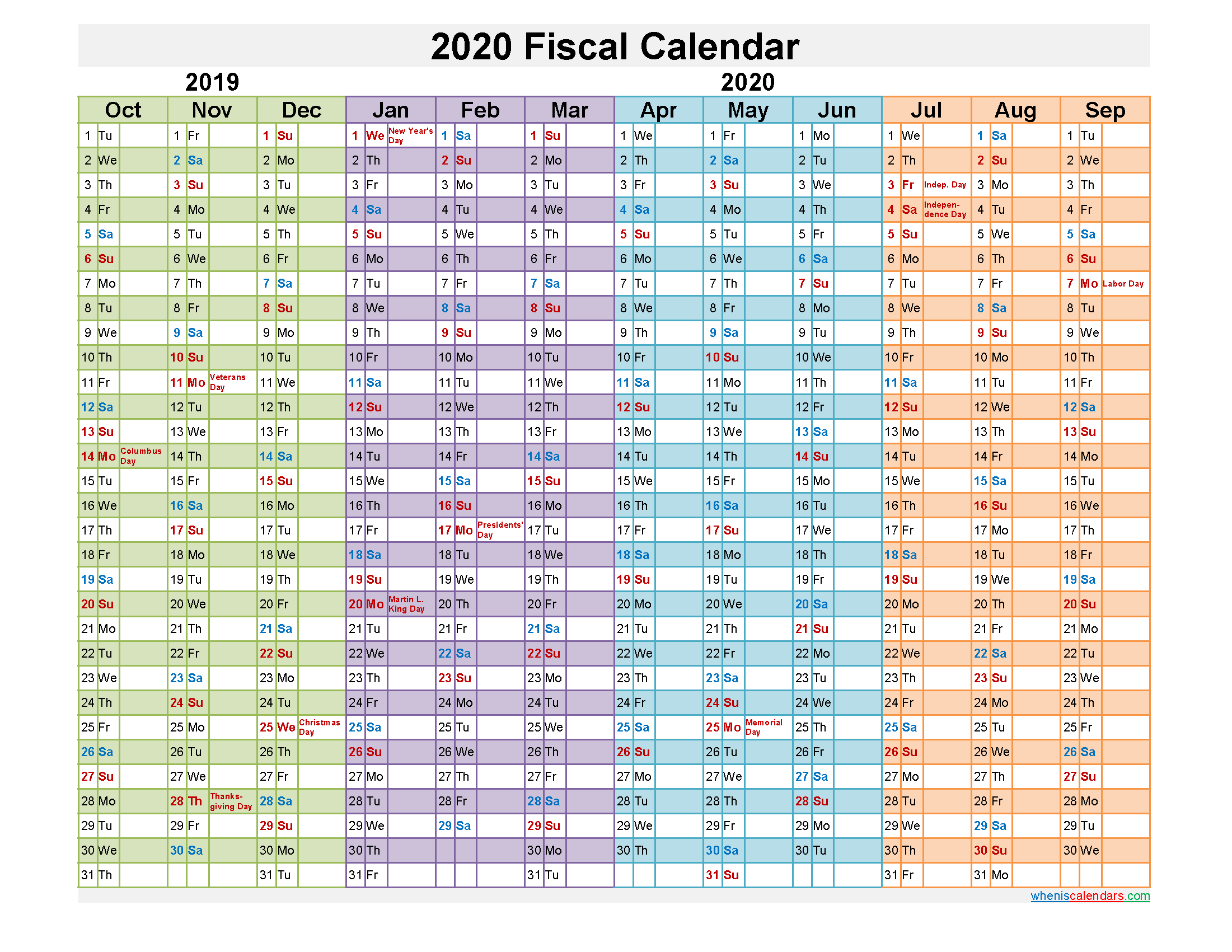 Federal Fiscal Year 2020 Calendar
