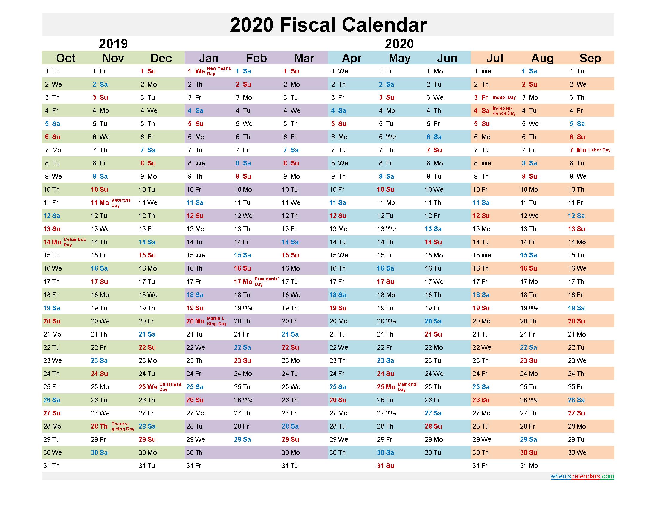 Fiscal Month Calendar 2020