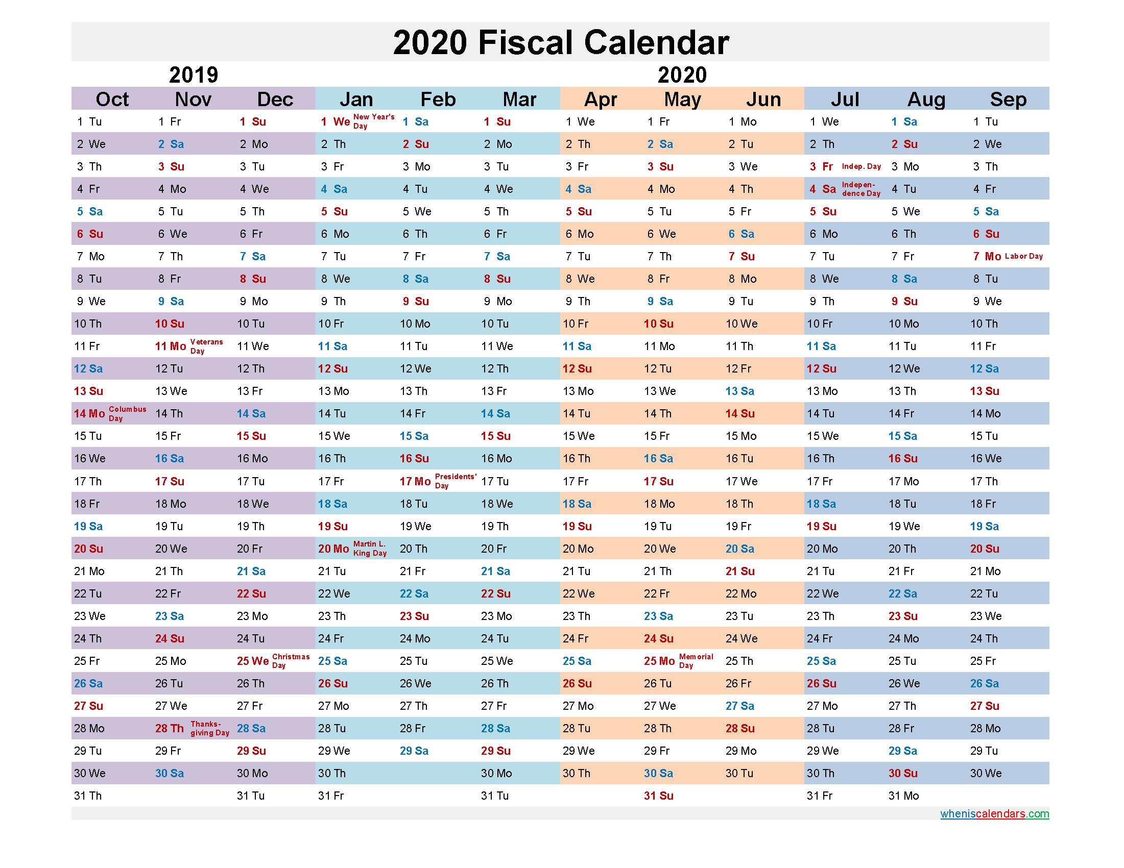 2020 Fiscal Calendar