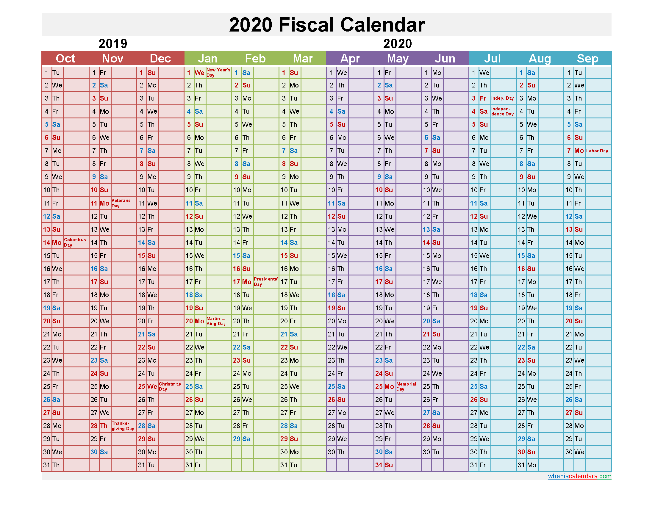Fiscal Year 2020 Calendar