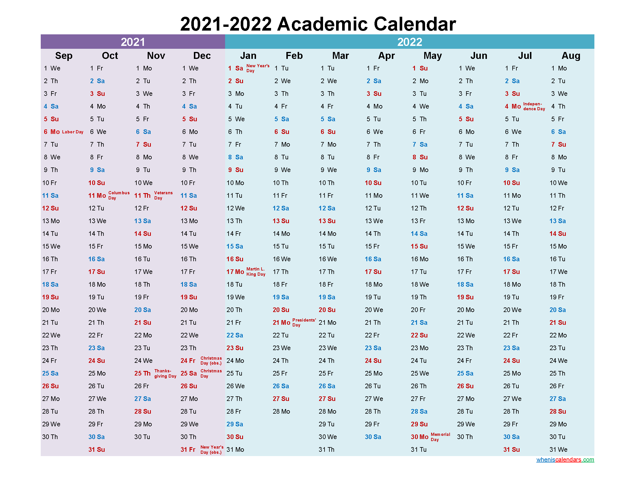 2021 and 2022 Academic Calendar Printable
