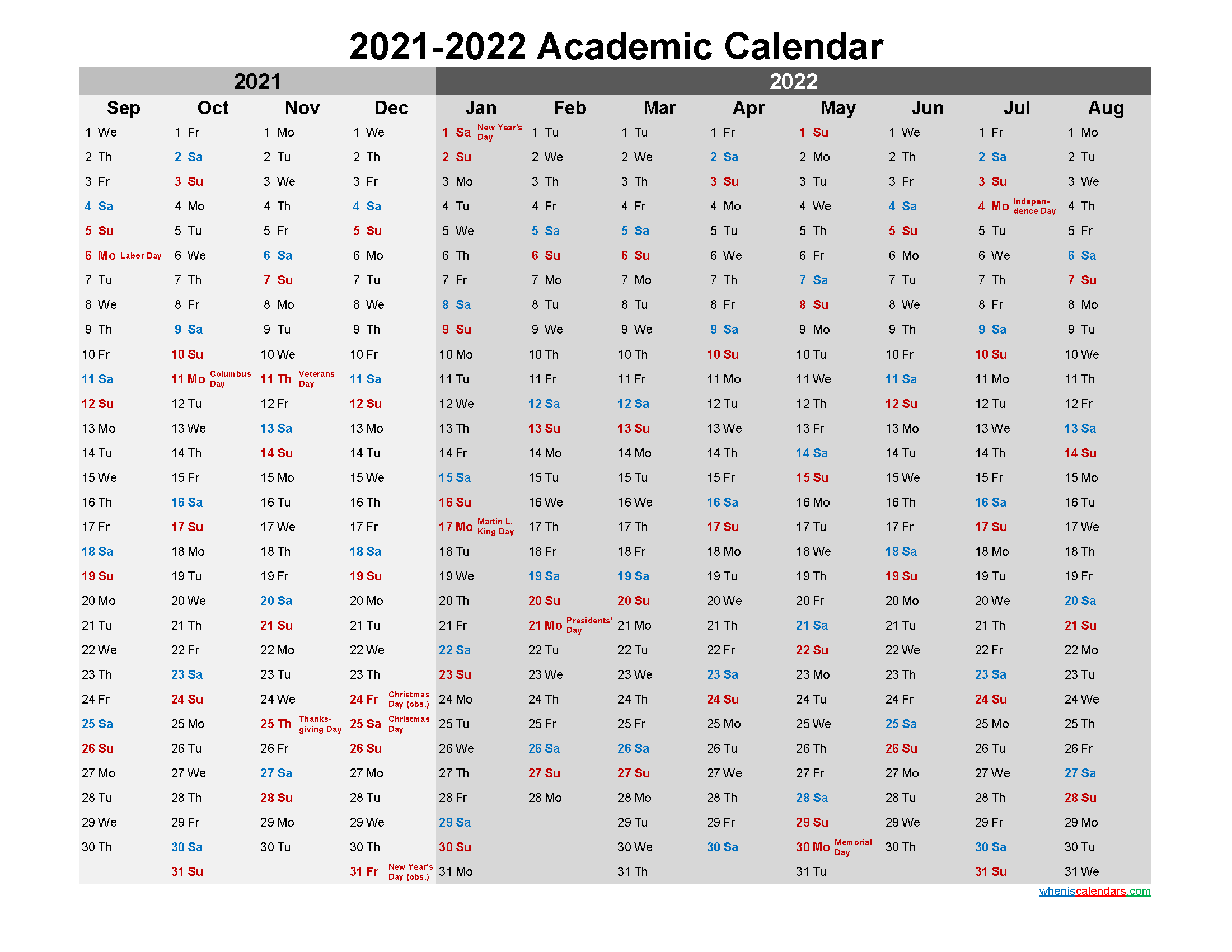 Academic Calendar 2021 and 2022 Printable
