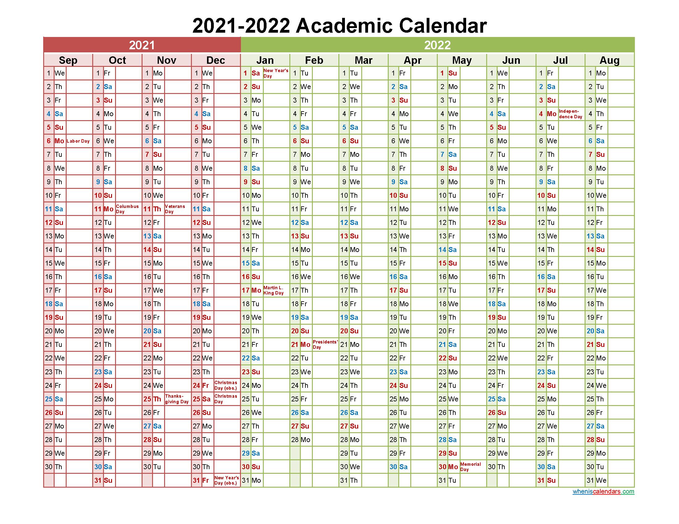Su Academic Calendar 2022.Academic Calendar 2021 And 2022 Printable Landscape Template No Aca22y16 Free Printable 2021 Monthly Calendar With Holidays