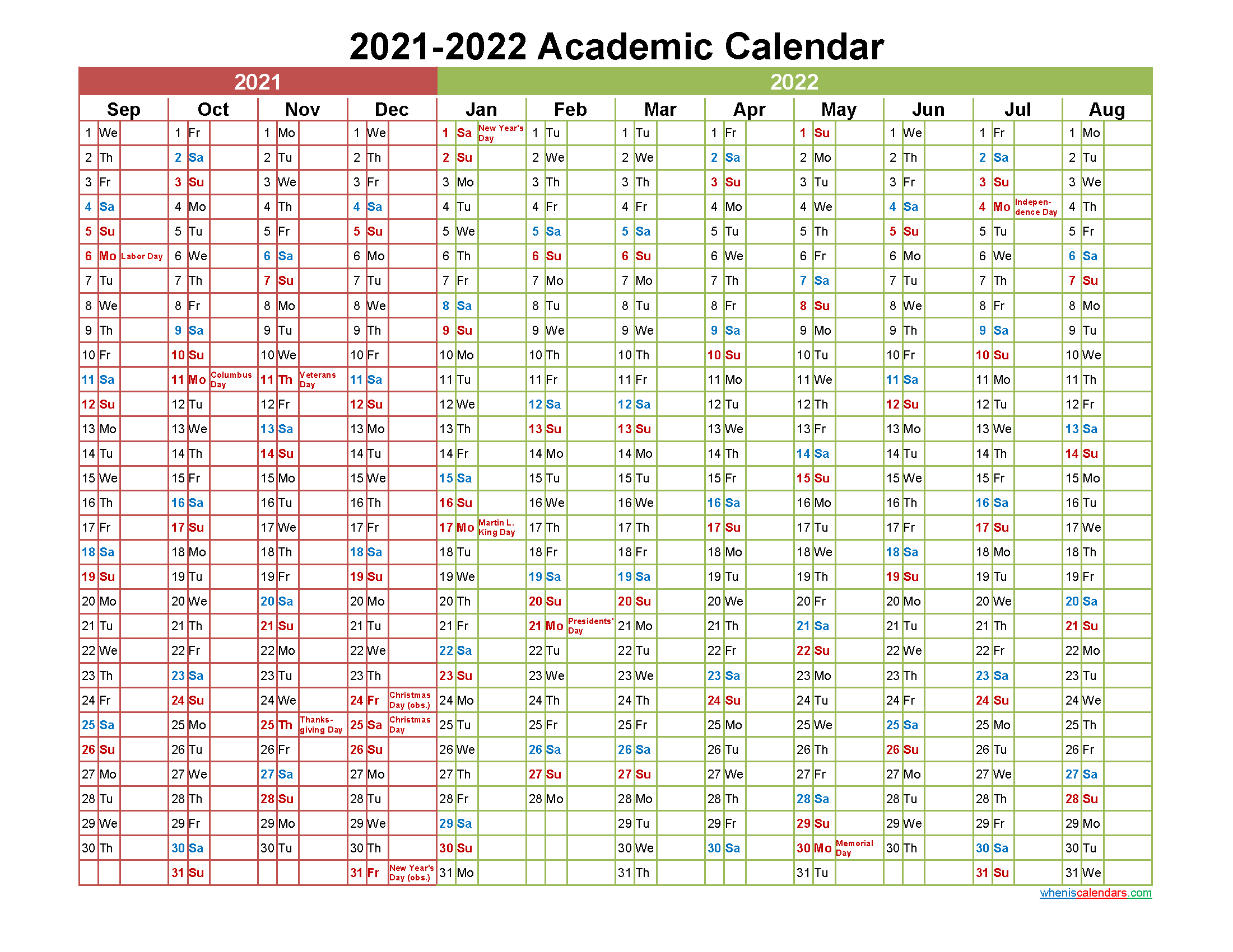 Academic Calendar 2021 and 2022 Printable (Landscape ...