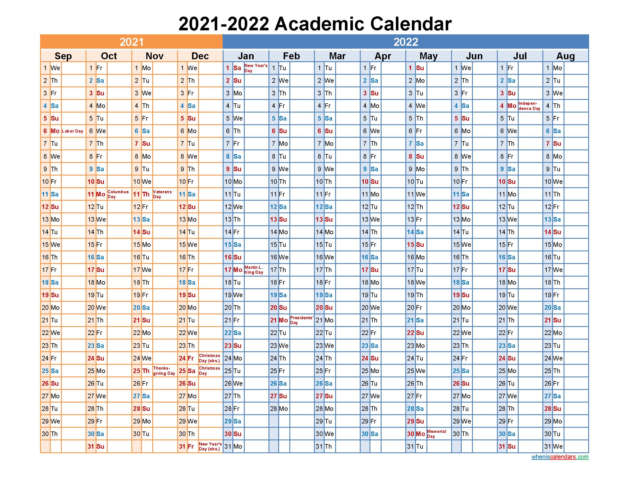 Academic Calendar 2021 and 2022 Printable (Landscape ...