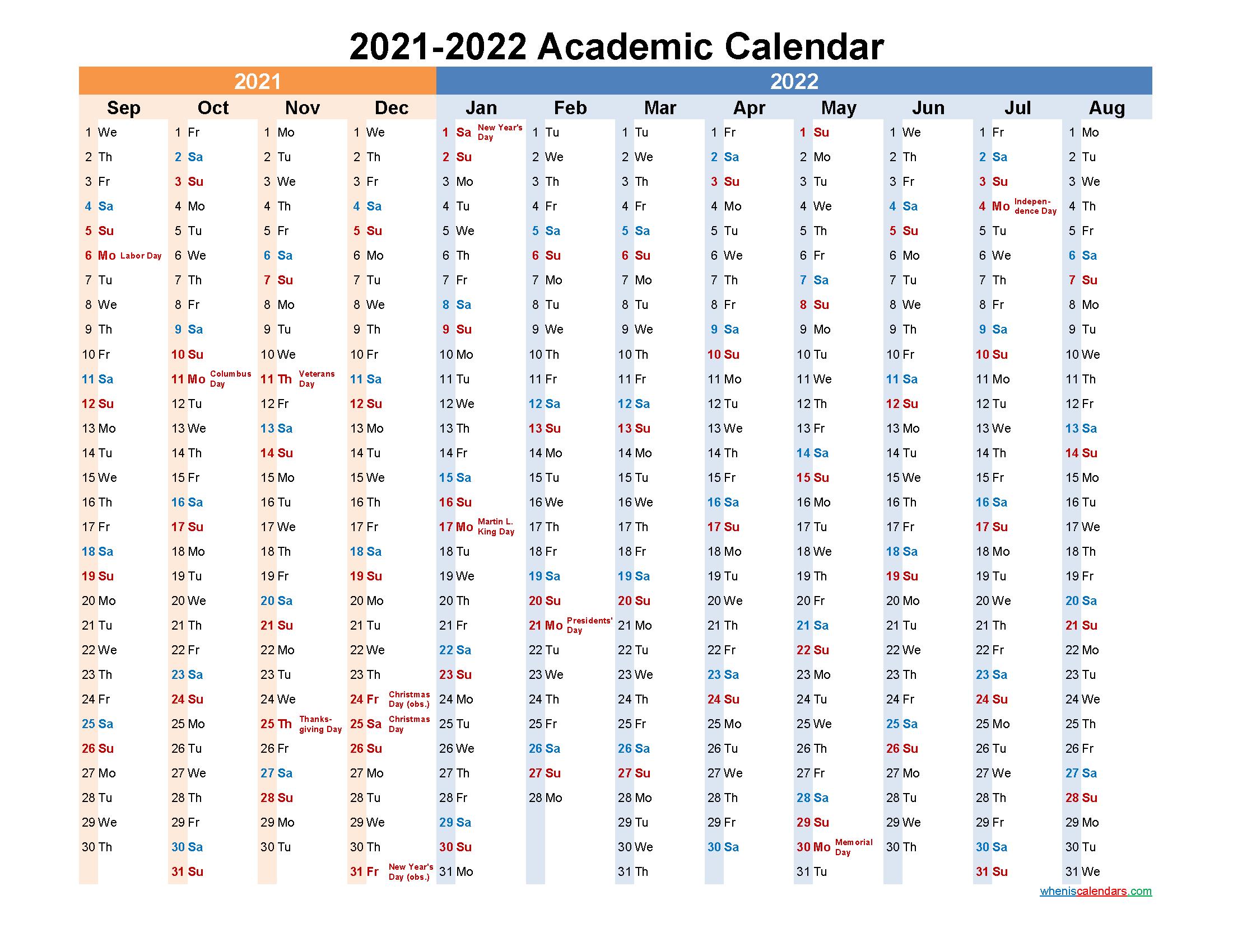 2021 and 2022 Academic Calendar Printable