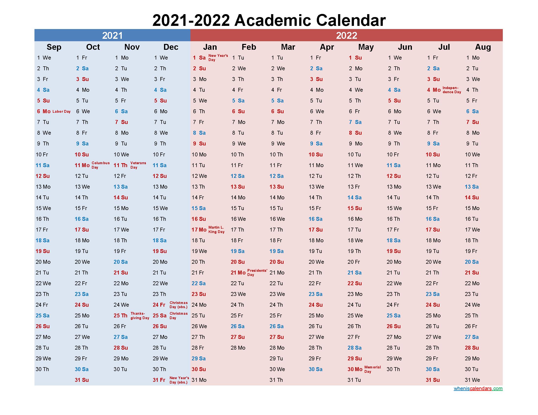 Academic Calendar 2021 and 2022 Printable