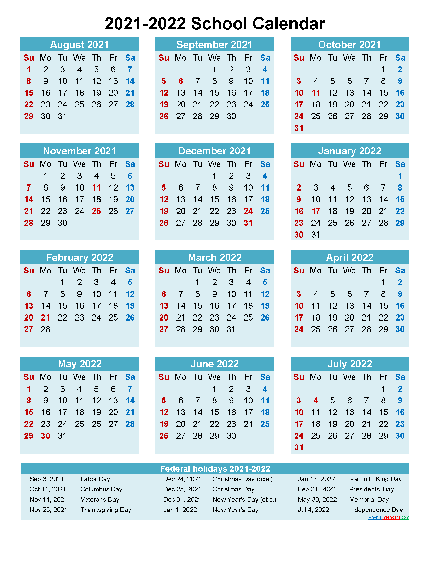 2021 and 2022 School Calendar Printable (Portrait ...