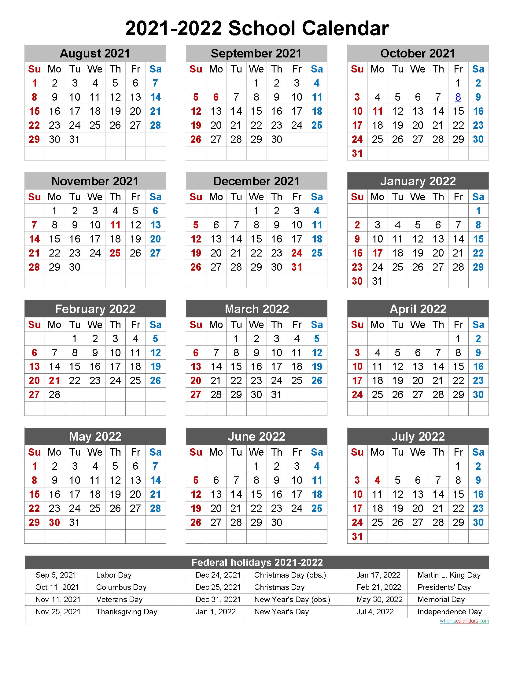2021-2022 School Calendar Template 2021 and 2022 School Calendar Printable (Portrait)  Template No