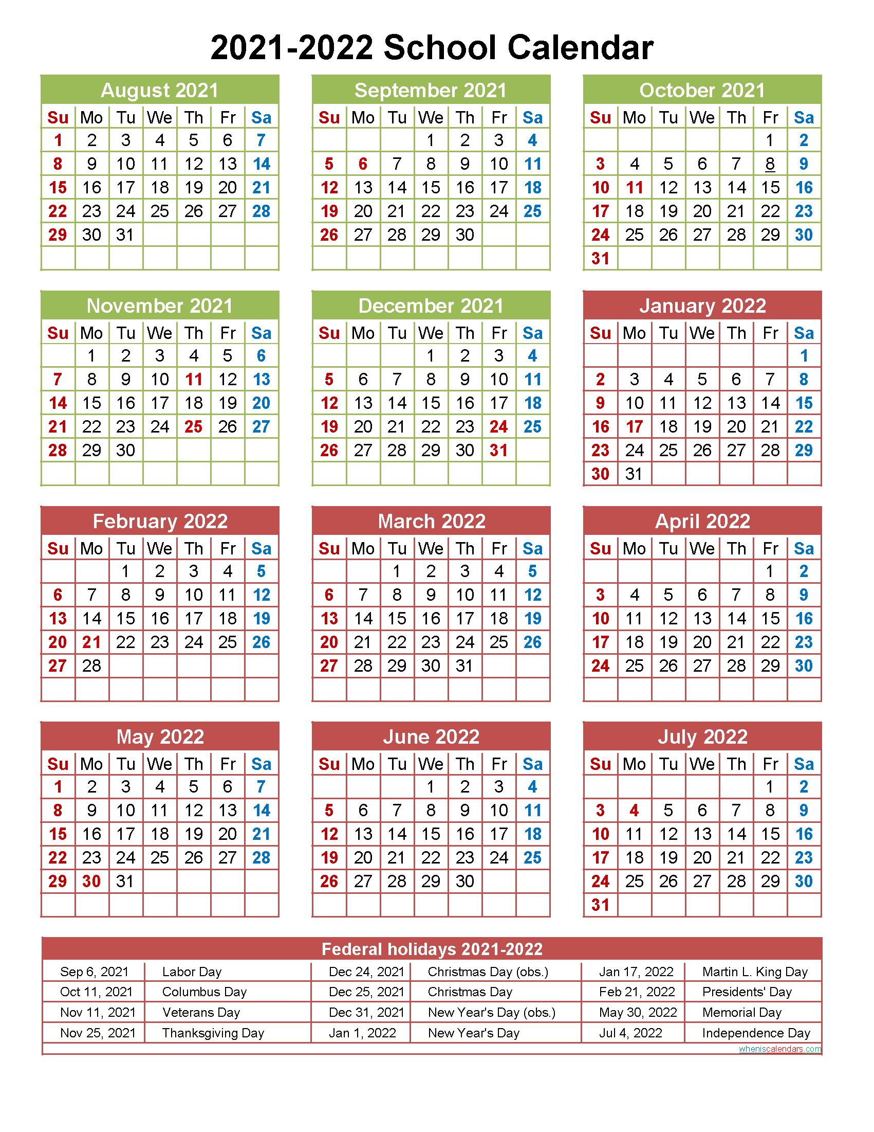 2021 and 2022 School Calendar Printable