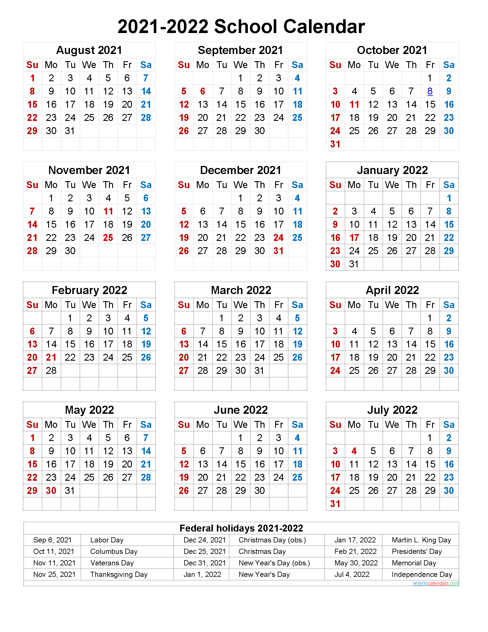 School Calendar 2021 and 2022 Printable