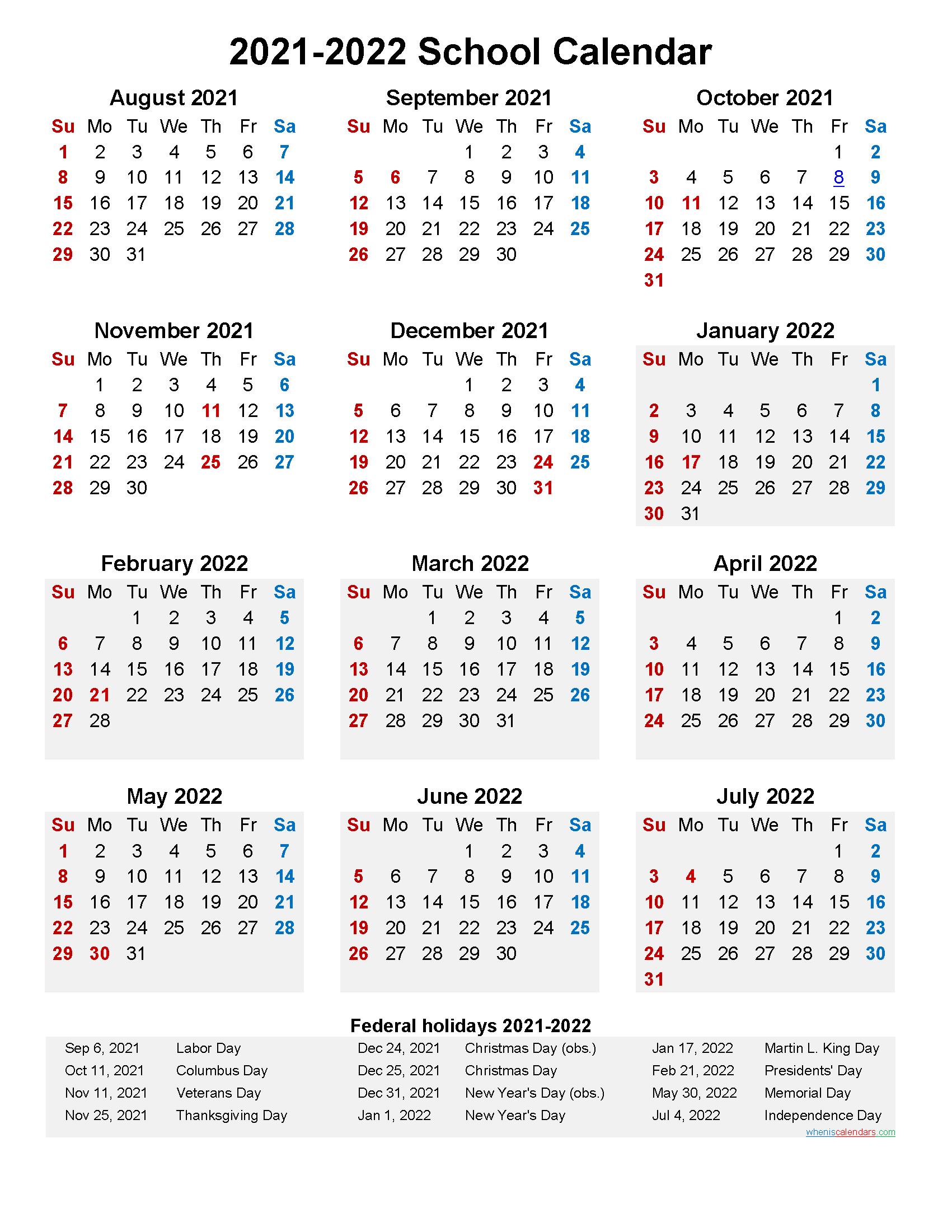 2021 and 2022 School Calendar Printable (Portrait)  Template No