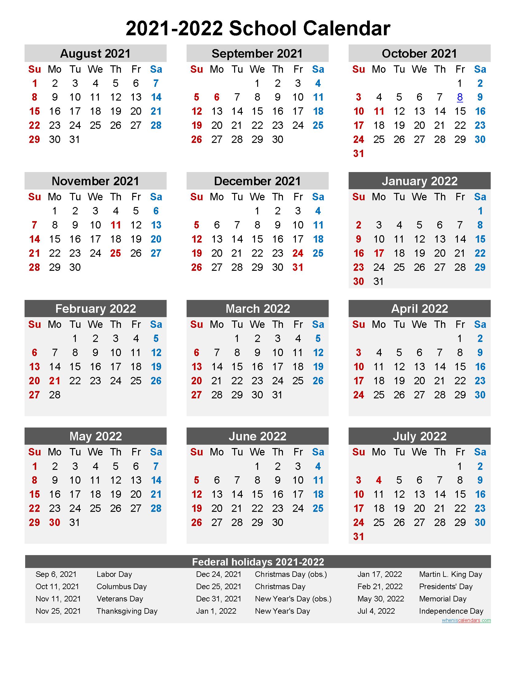 School Year Calendar 2021-2022 School Calendar 2021 and 2022 Printable (Portrait)  Template No