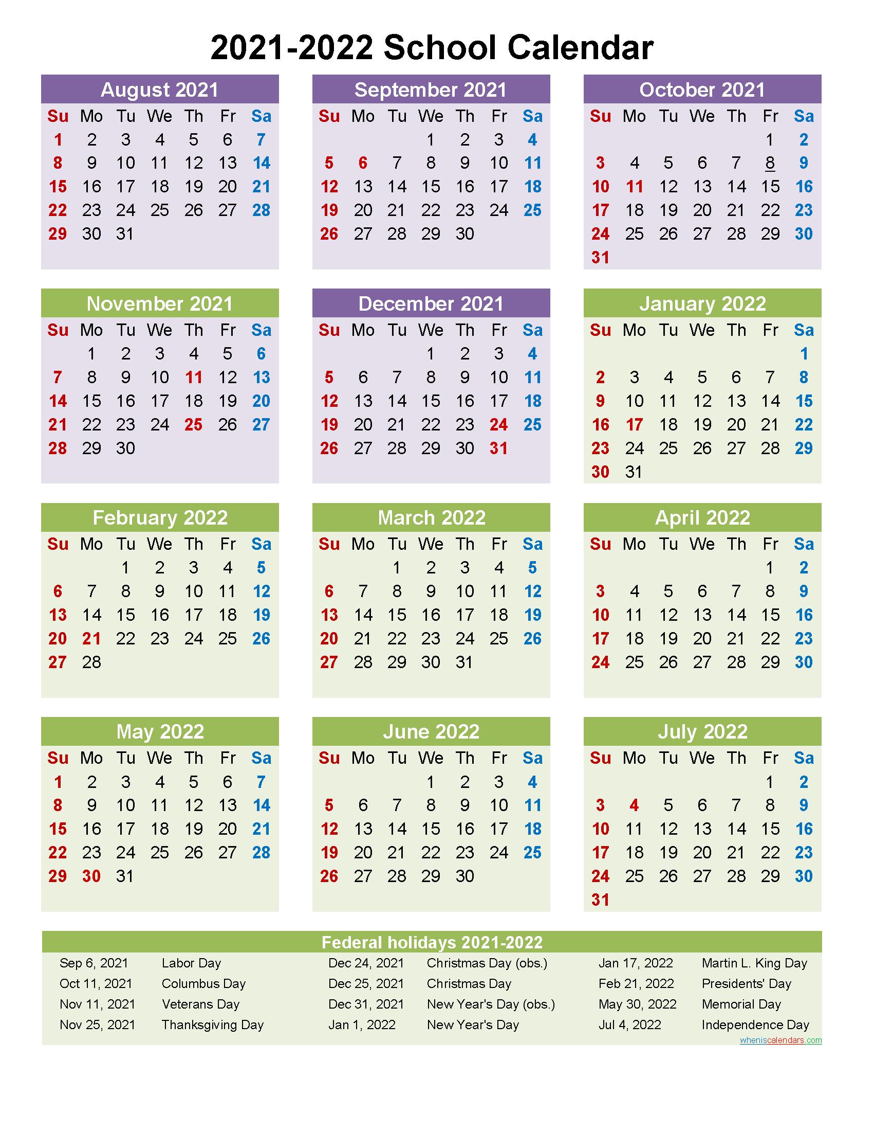 2021 and 2022 School Calendar Printable (Portrait ...