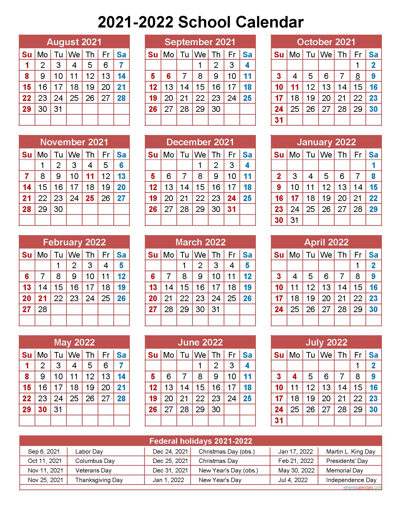 Printable School Calendar 2021 22 - Calendar 2021