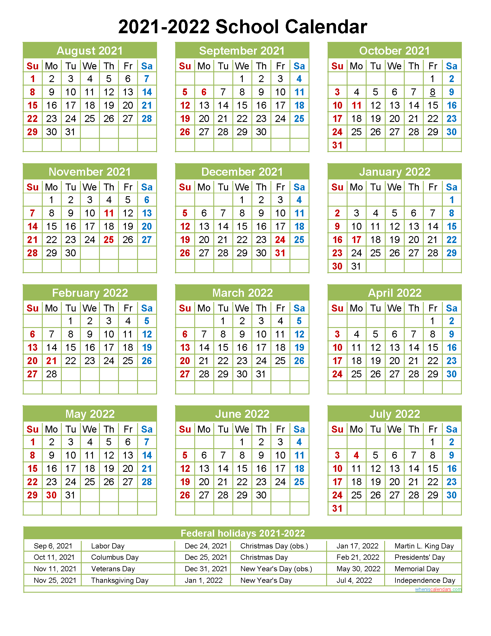 2021 and 2022 School Calendar Printable