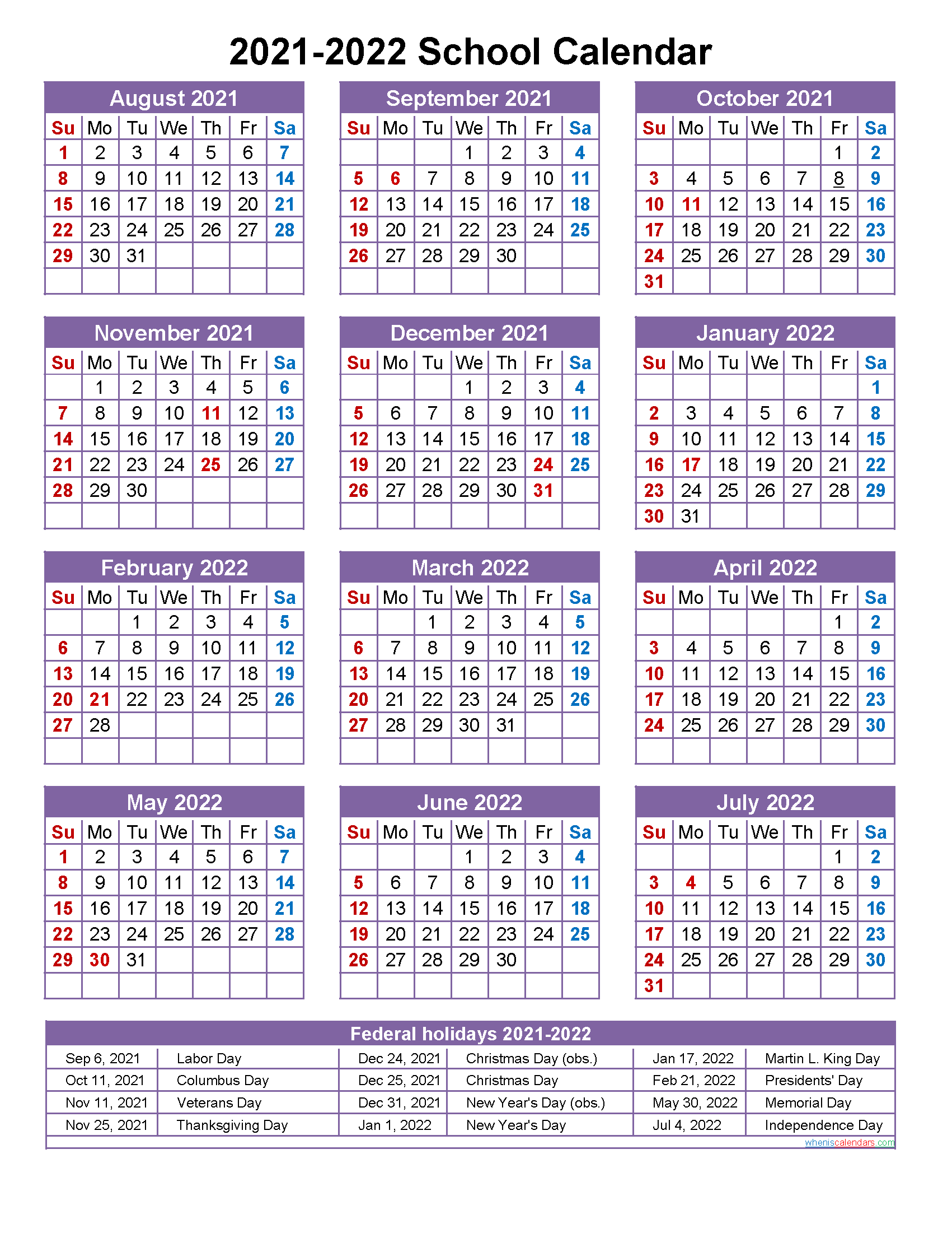 School Calendar 2021 and 2022 Printable (Portrait ...