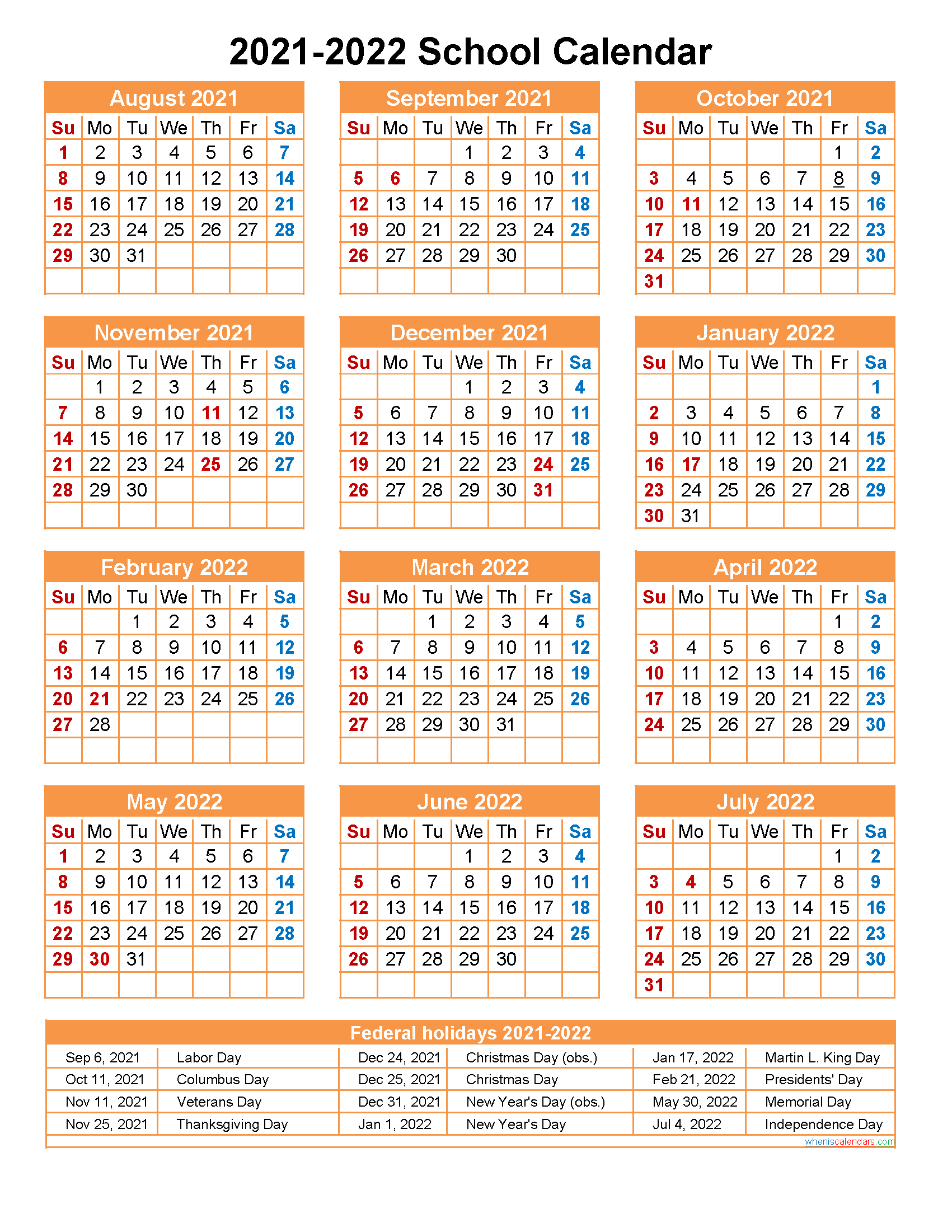 School Calendar 2021 and 2022 Printable