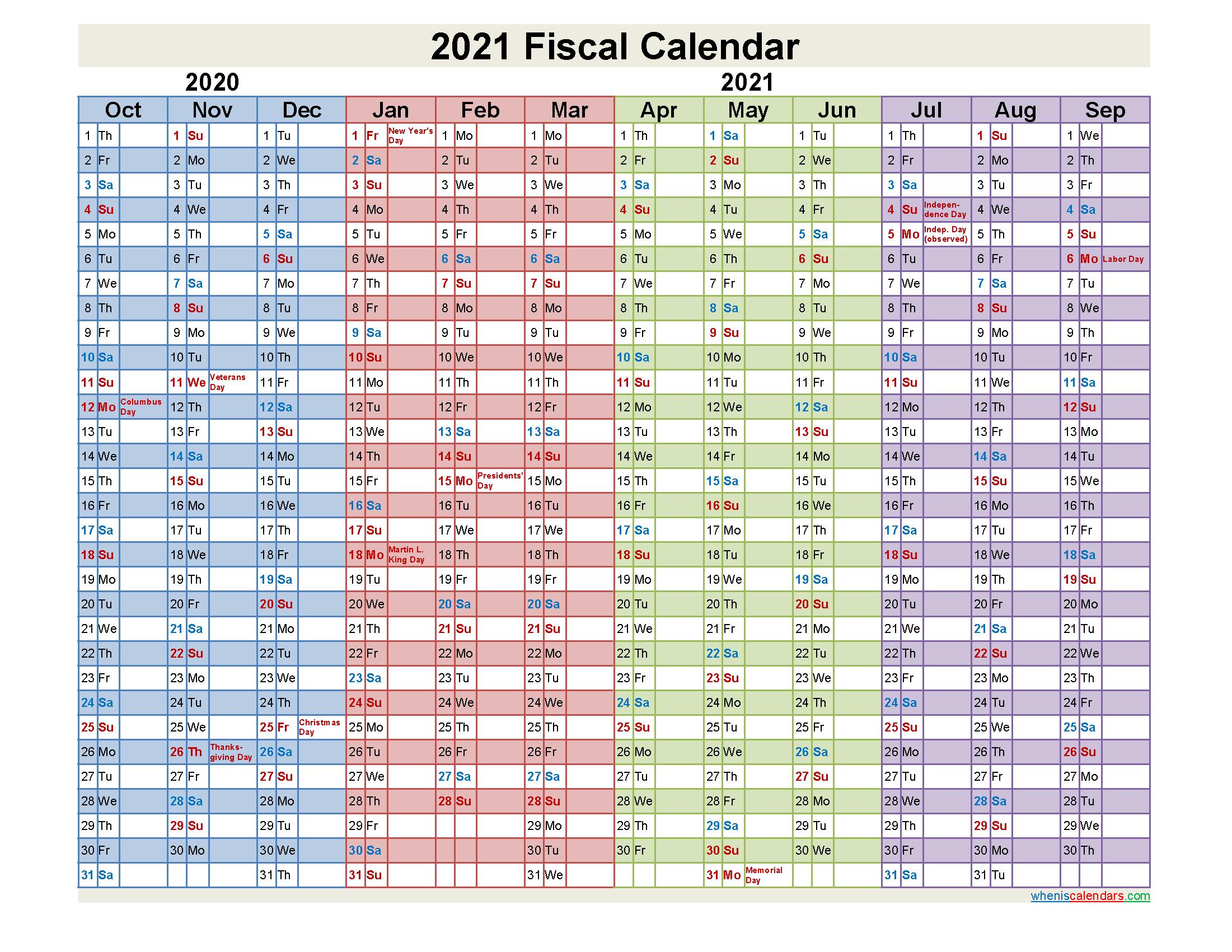 Fiscal Calendar 2021 Federal Fiscal Year - Template No ...